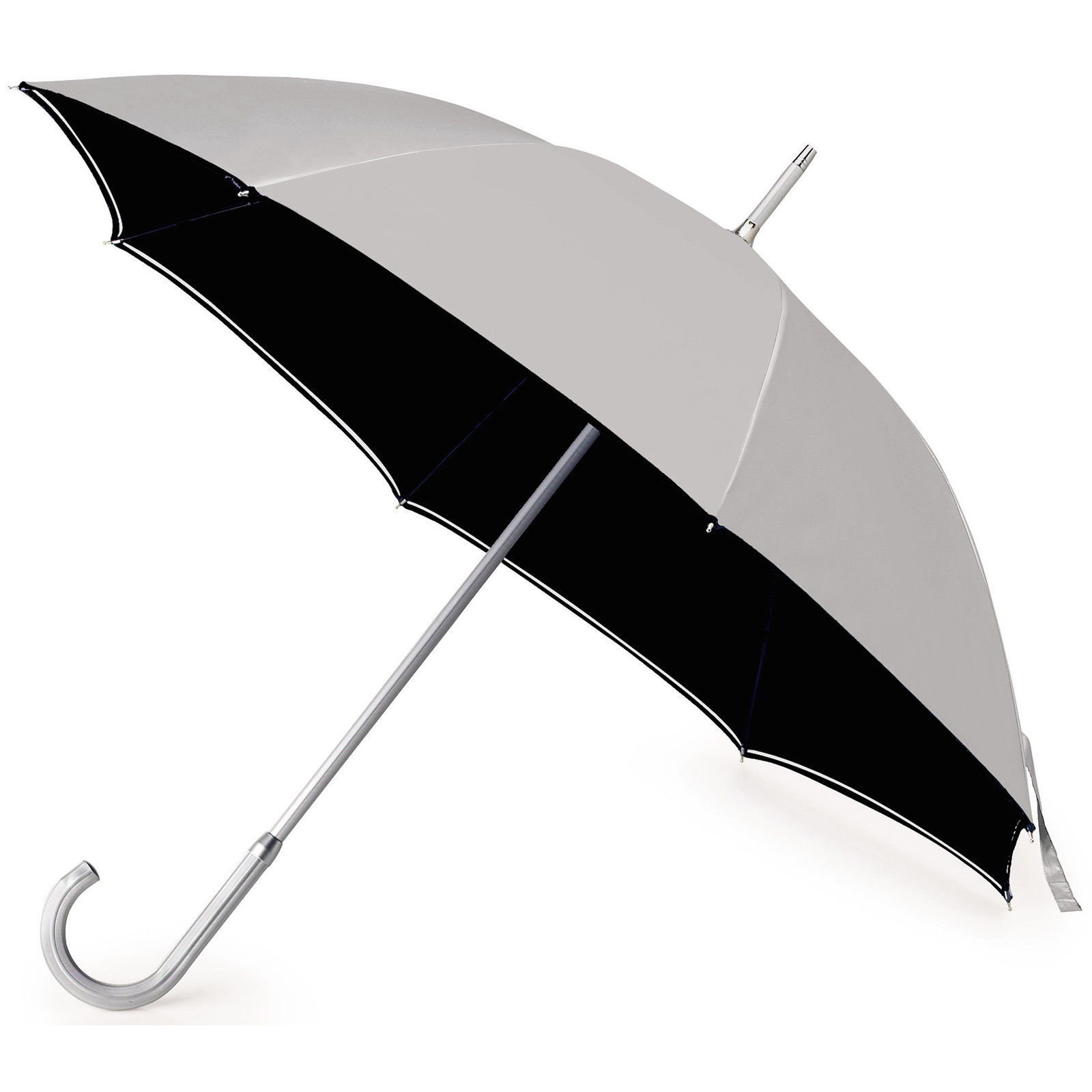 Bicolour classic manual umbrella - aluminium shaft & crooked handle. 106 cm Dia