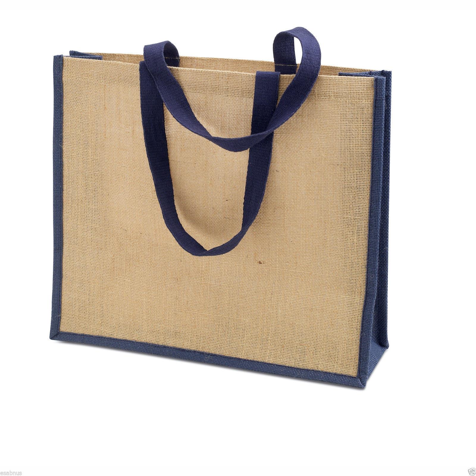 JUTE HESSIAN Shopping Bag–ECO FRIENDLY Shopper REUSABLE Grocery ...