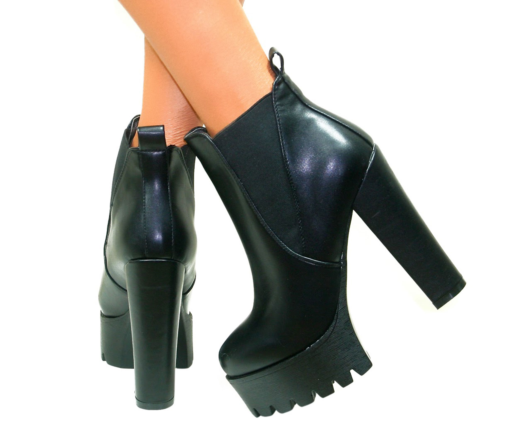 WOMENS LADIES CHUNKY CLEATED PLATFORM HIGH BLOCK HEELS ANKLE BOOTS SHOES SIZE