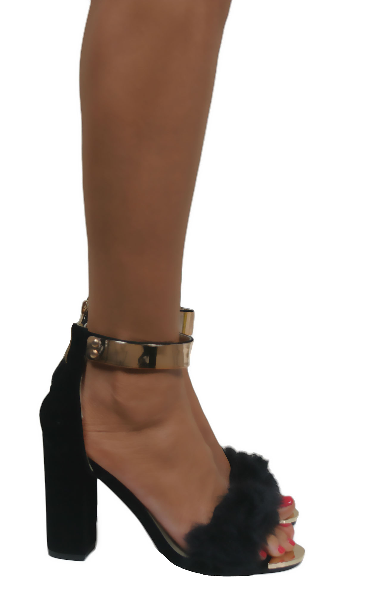 Black Heels With Gold Ankle Cuff