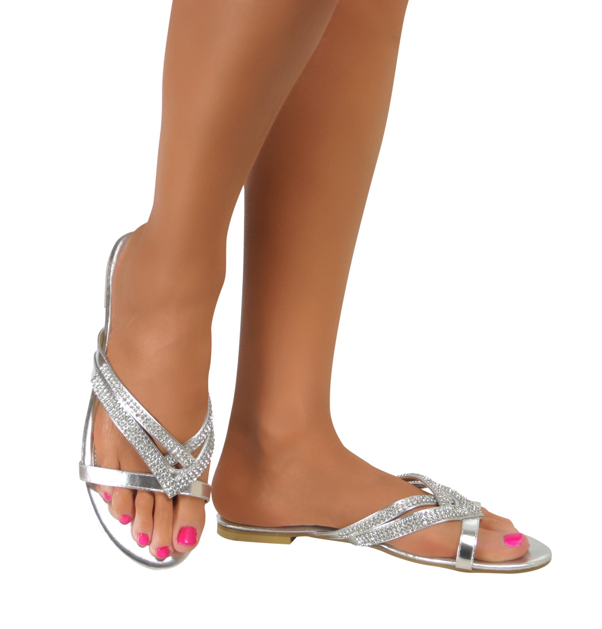 damen silber strass glitzer flip flops braut ball strand klug sandalen uk 3 8 ebay. Black Bedroom Furniture Sets. Home Design Ideas