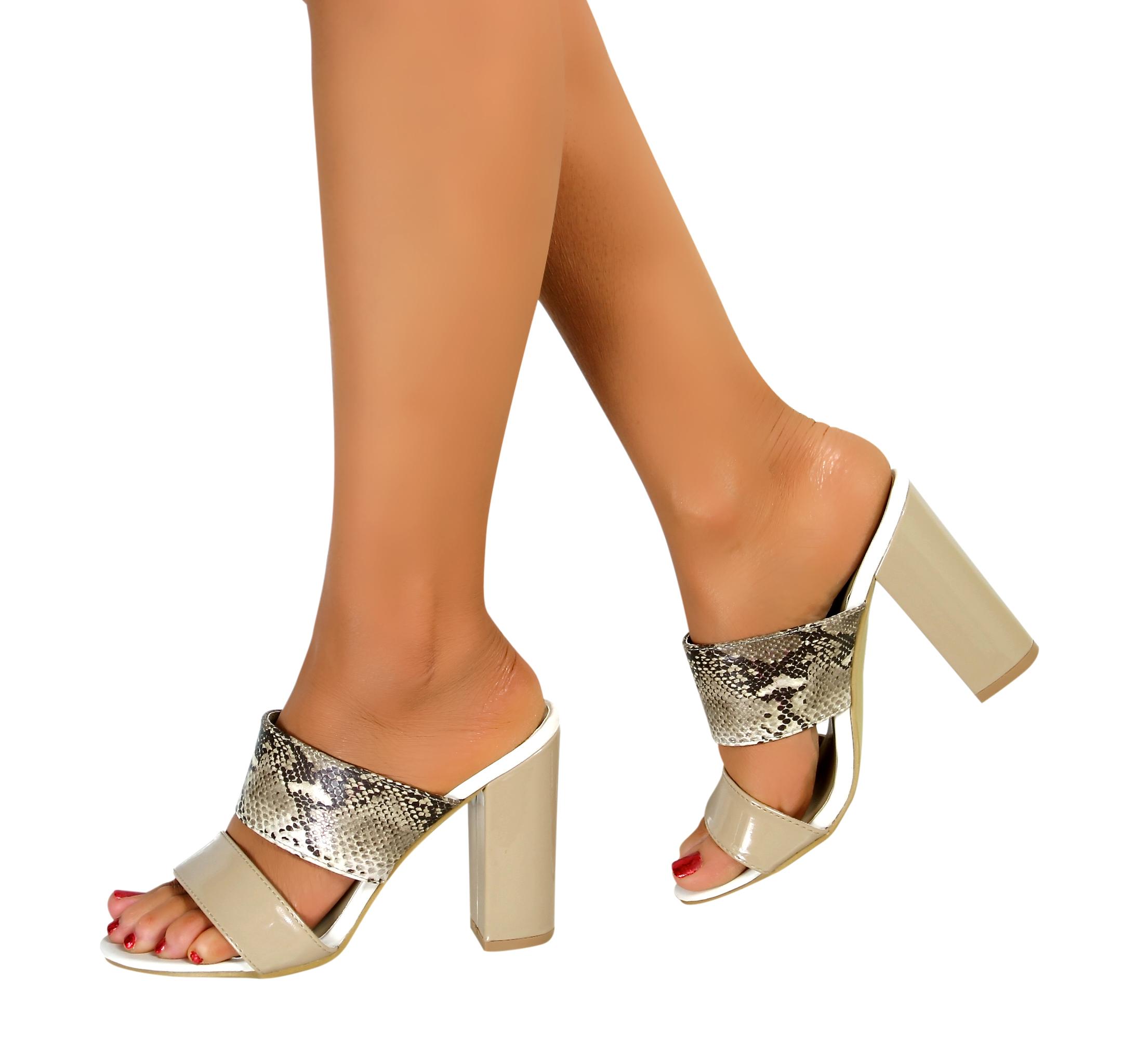 femme femmes chunky talon haut bloc enfiler bout ouvert mules soir e sandales chaussures ebay. Black Bedroom Furniture Sets. Home Design Ideas