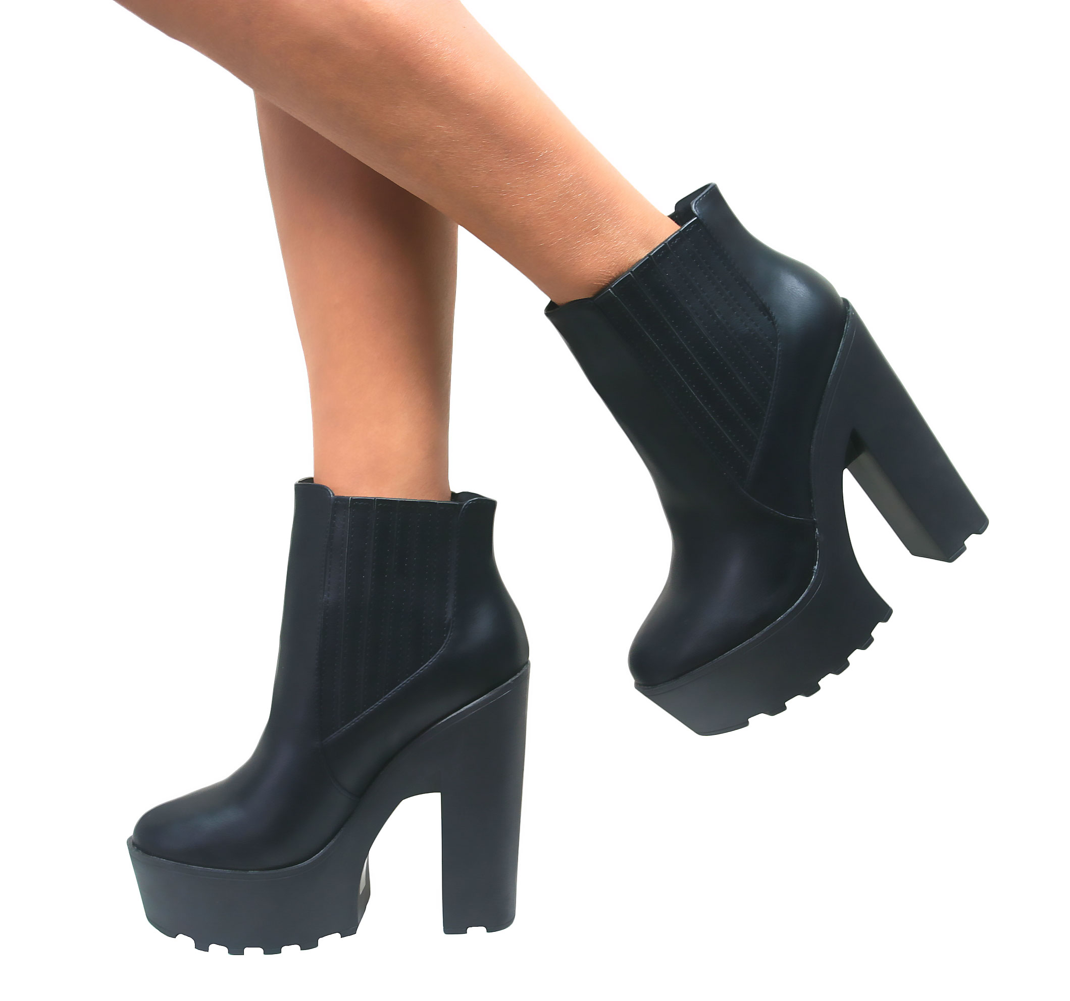 WOMENS LADIES CHUNKY PLATFORM ANKLE BOOTS CLEATED SOLE HIGH HEEL ...