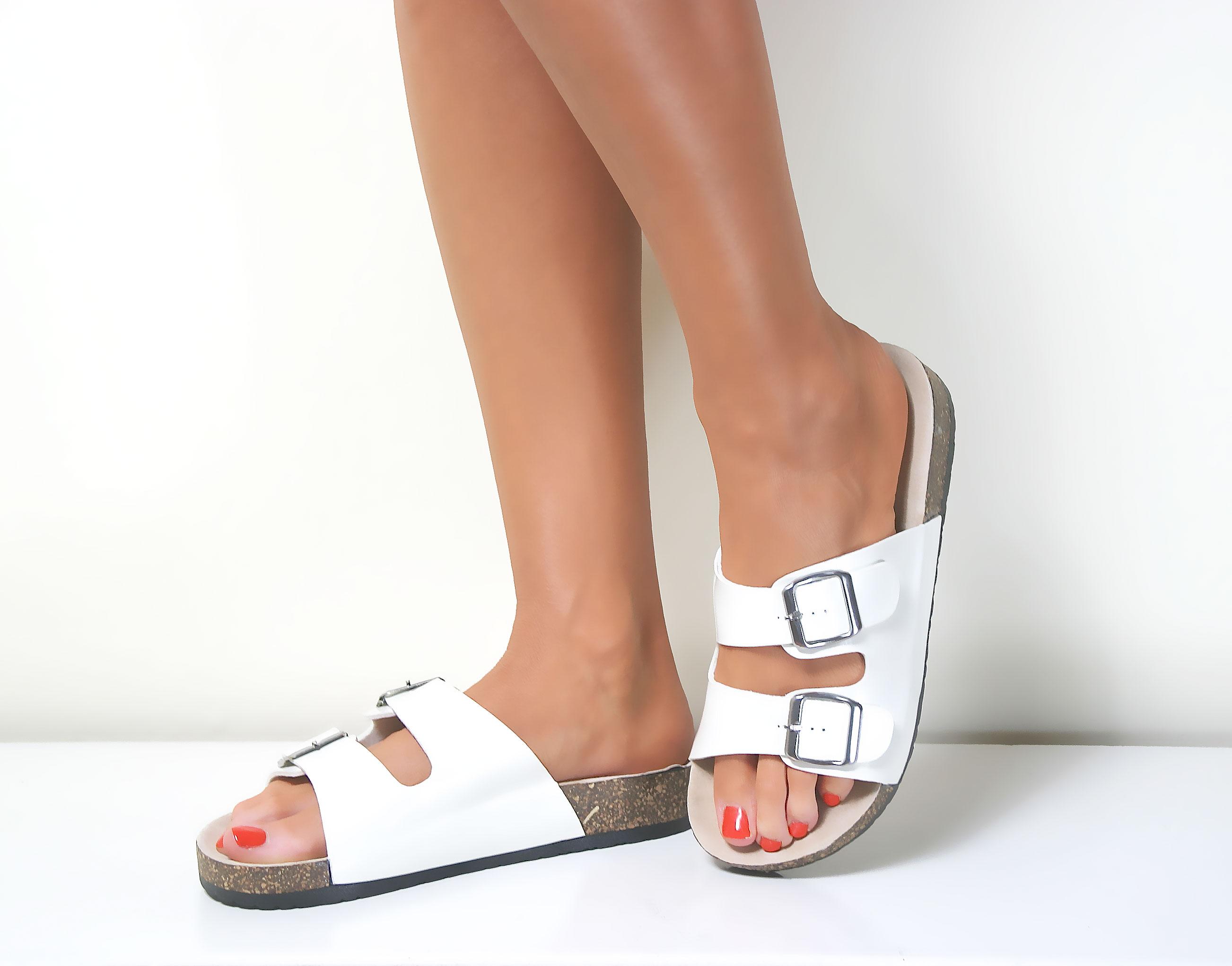 Womens Ladies Flat Cork Moulded Footbed Flip Flop