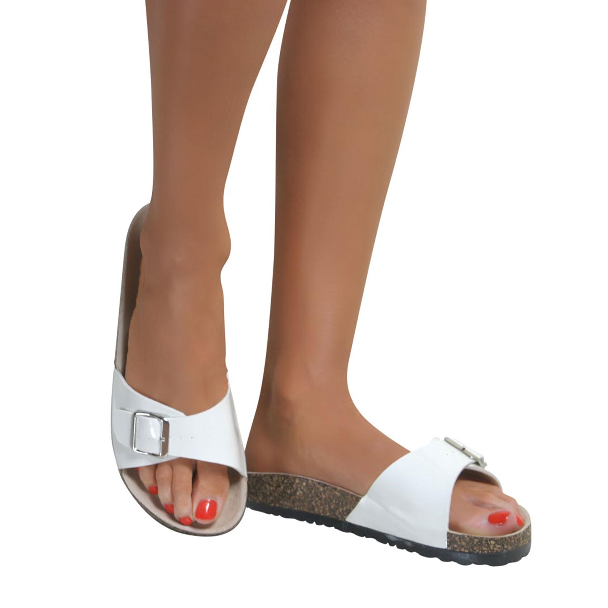 Ladies Womens Slip On Flat Flip Flops Summer Mules Beach ...