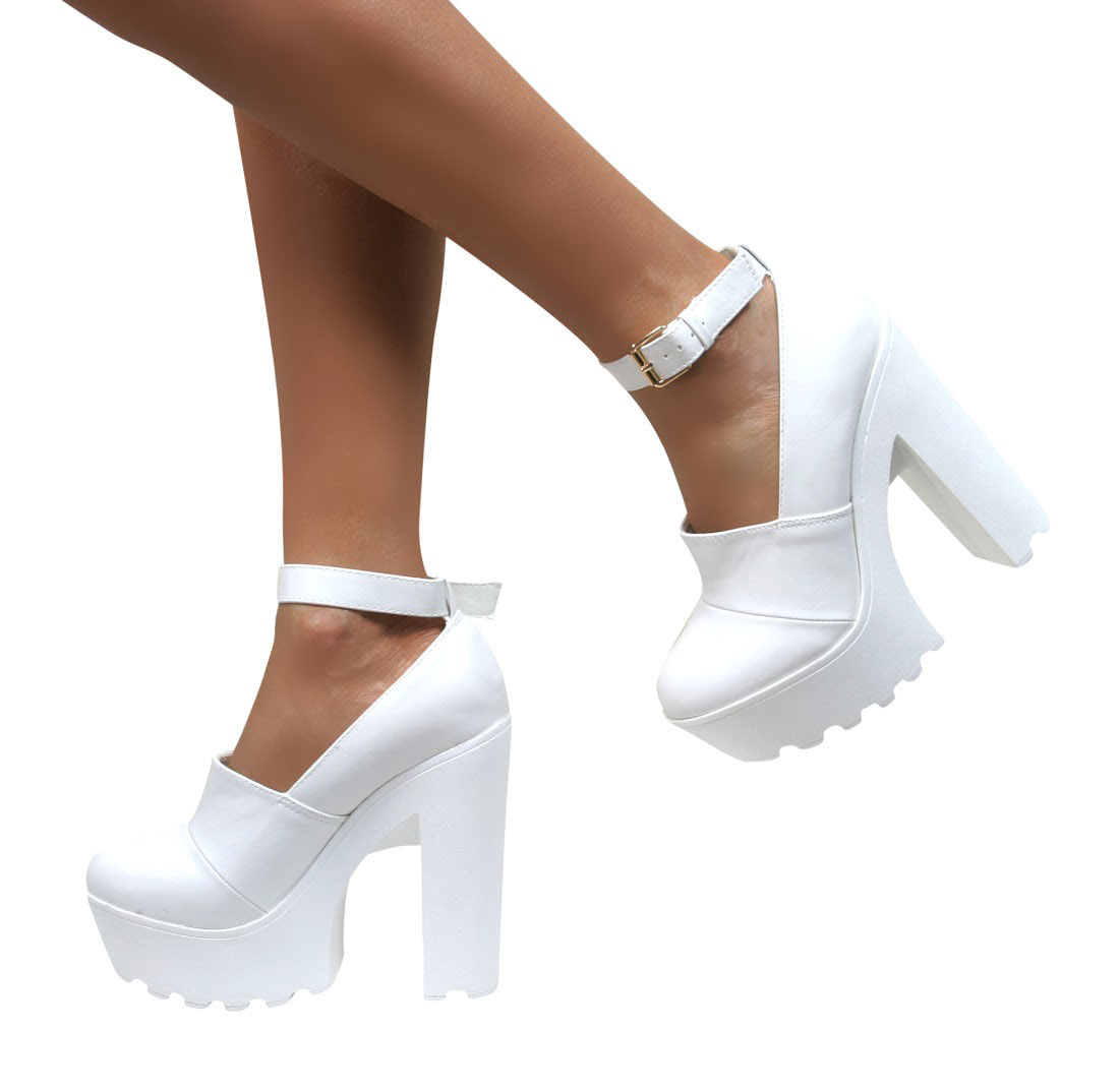 WOMENS LADIES CHUNKY CLEATED SOLE HIGH HEEL PLATFORM BOOTS SHOES ...