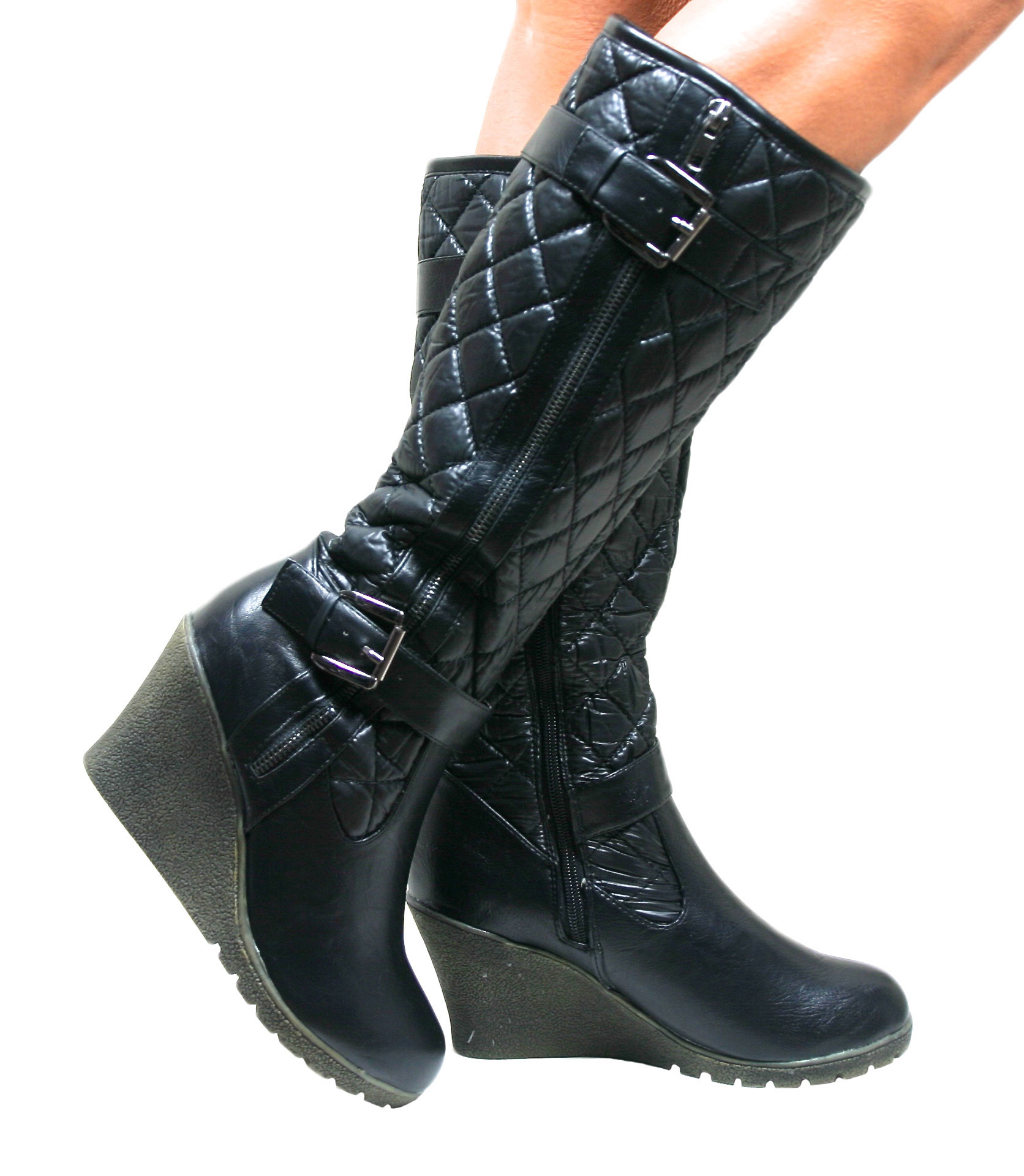 Womens Ladies Knee High Wedge Heel Black Padded Quilted Boots