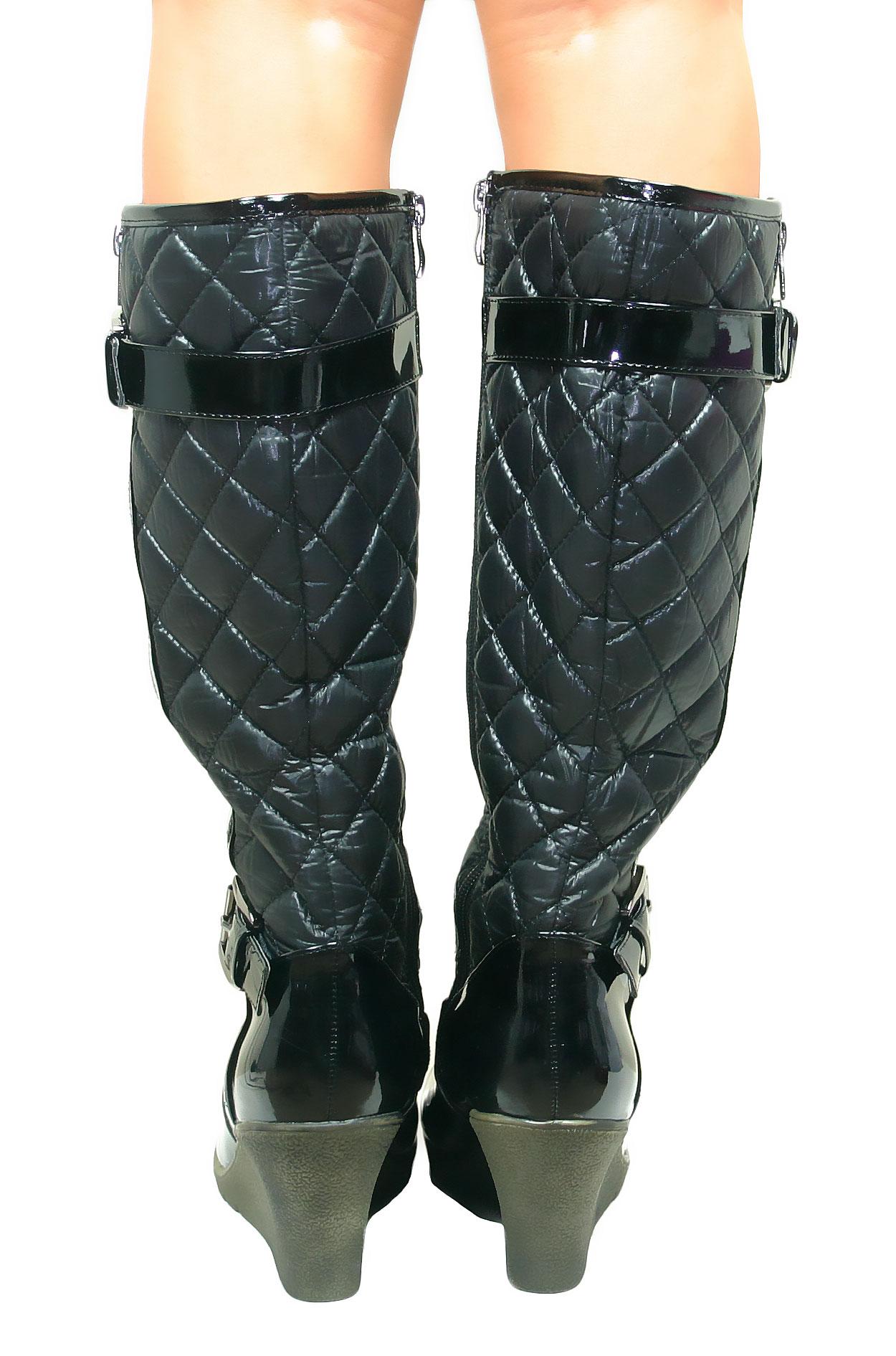 Womens-Ladies-Knee-High-Wedge-Heel-Black-Padded-Quilted-Boots