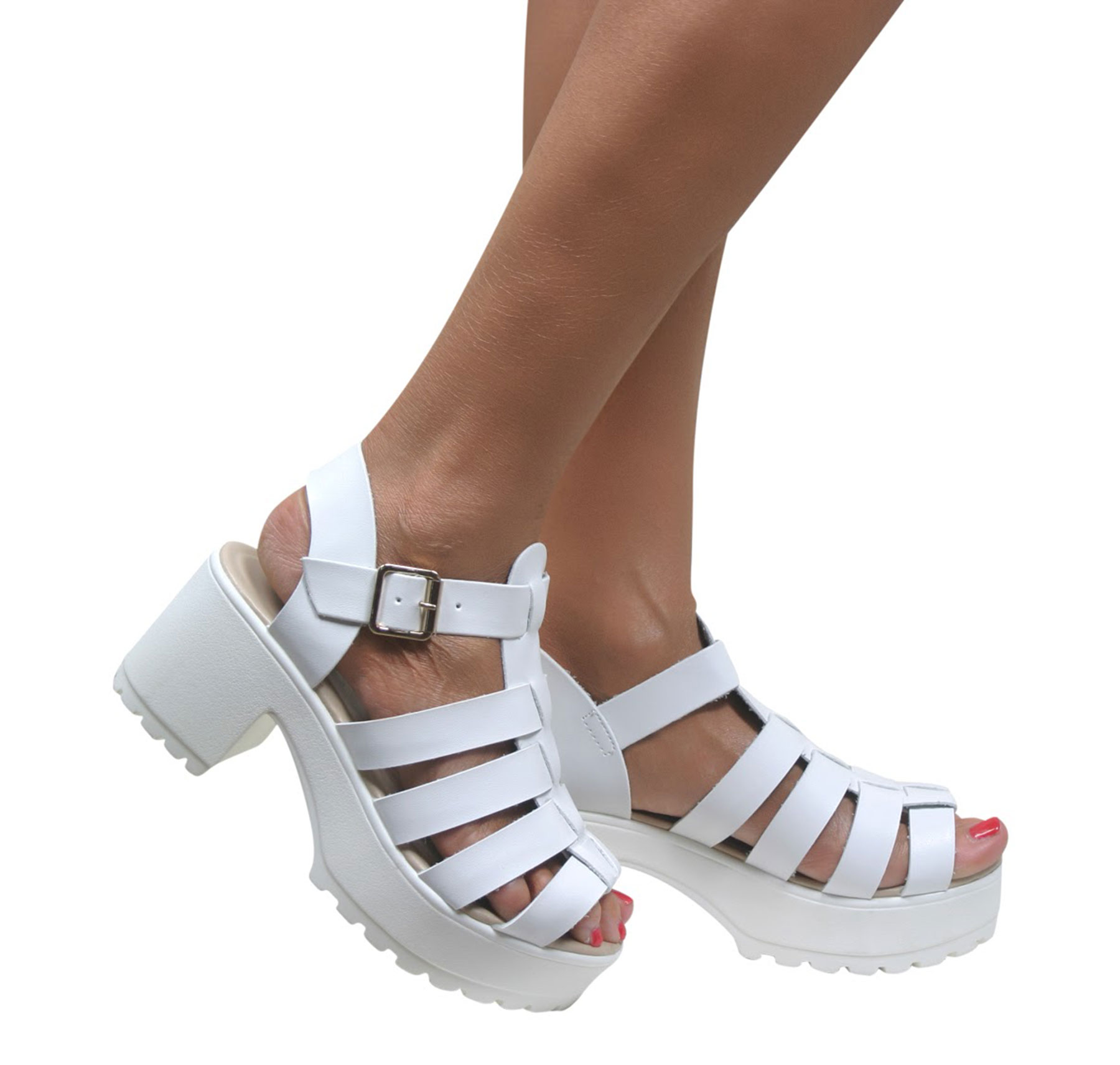 Womens Ladies Chunky Heel Cleated Sole Caged Gladiator Sandals Cut ...