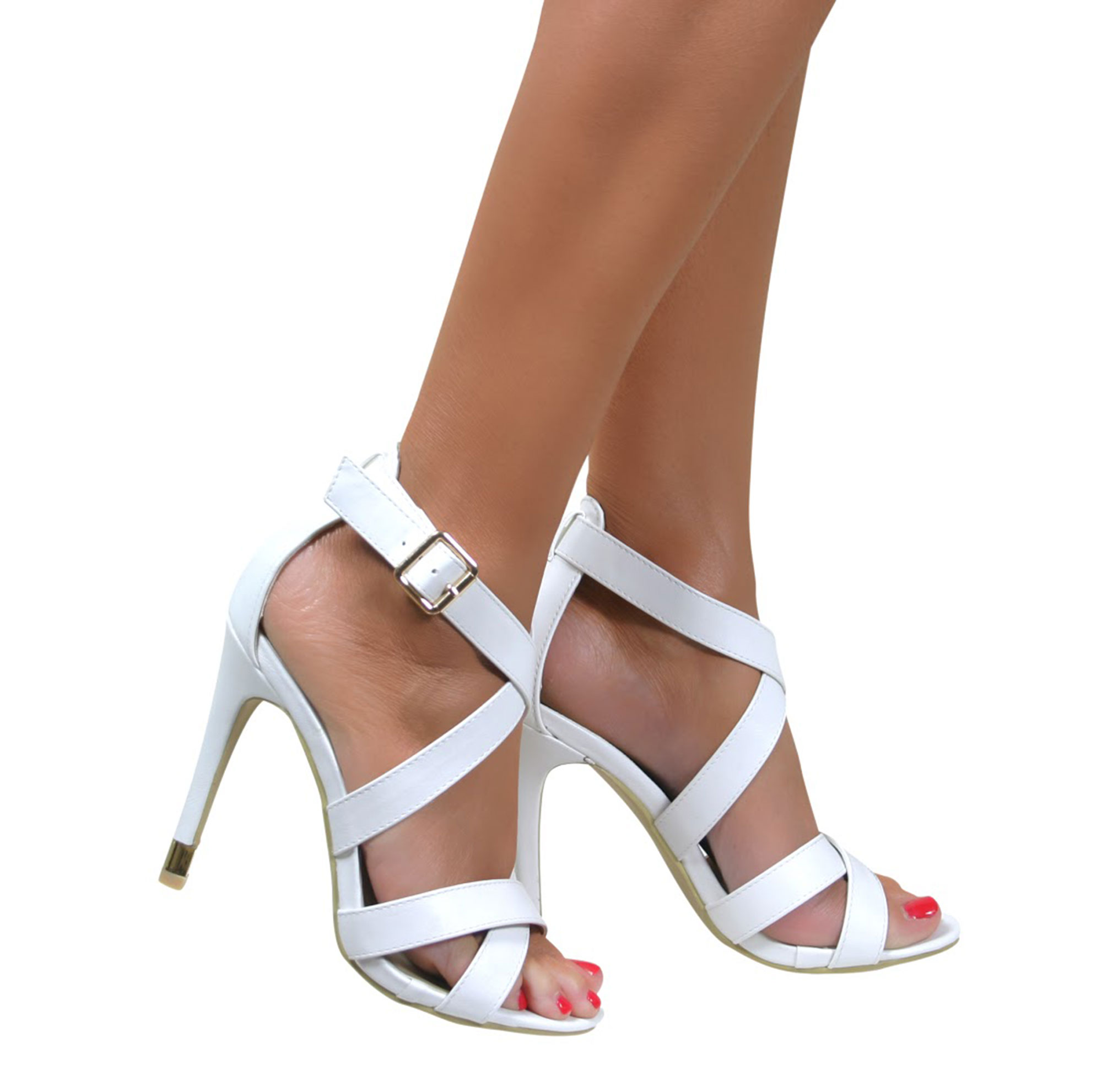 STRAPPY SANDALS STILETTO HEEL ANKLE STRAP BUCKLE HIGH HEELS SHOES ...