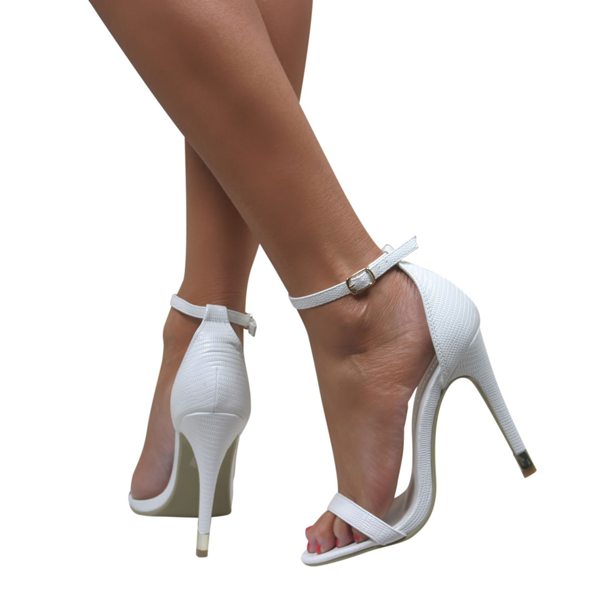 LADIES STRAPPY STILETTO HIGH HEEL BARELY THERE SANDALS ANKLE STRAP