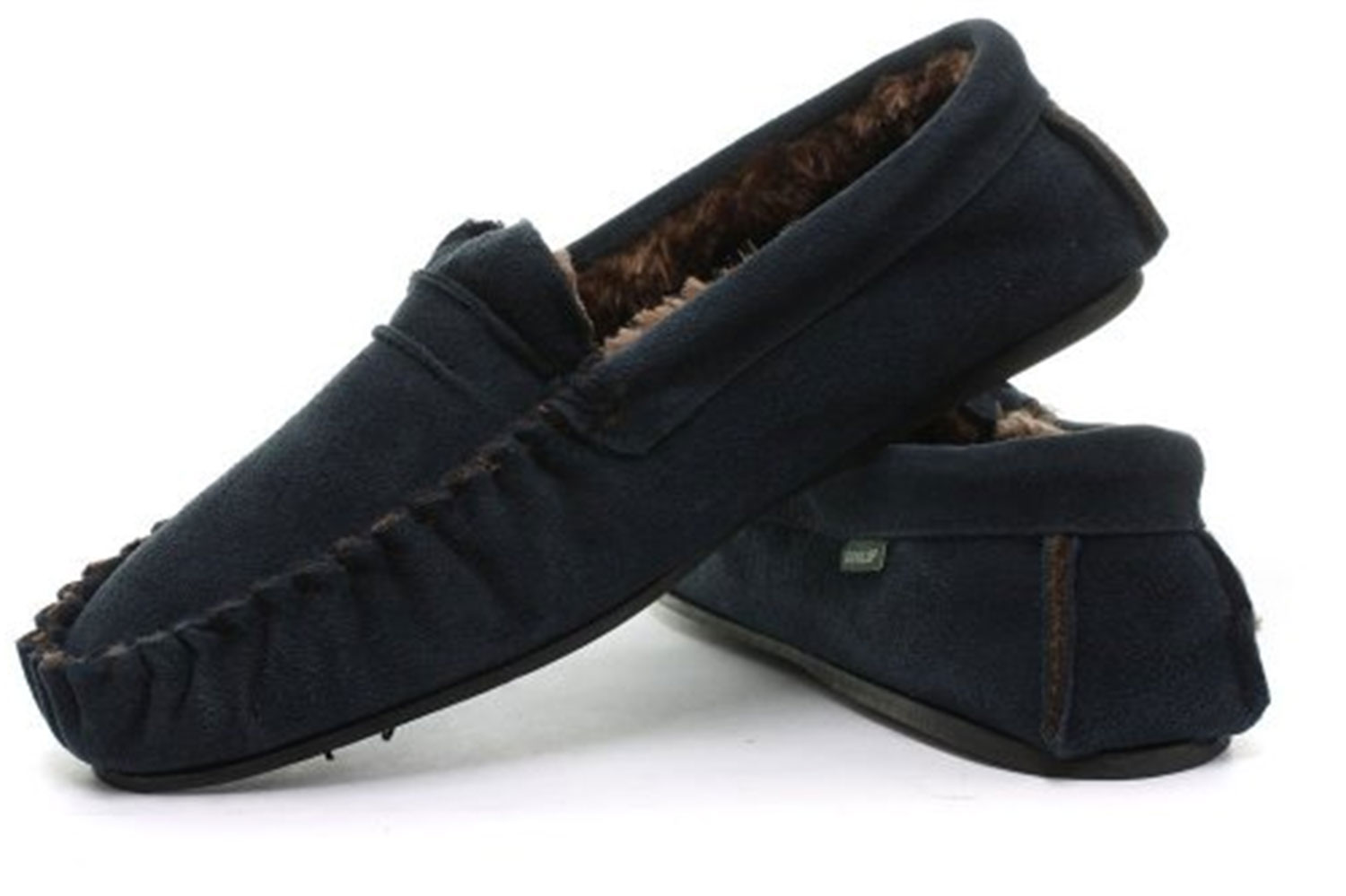 dunlop genuine leather suede moccasin slippers soft house shoes sizes