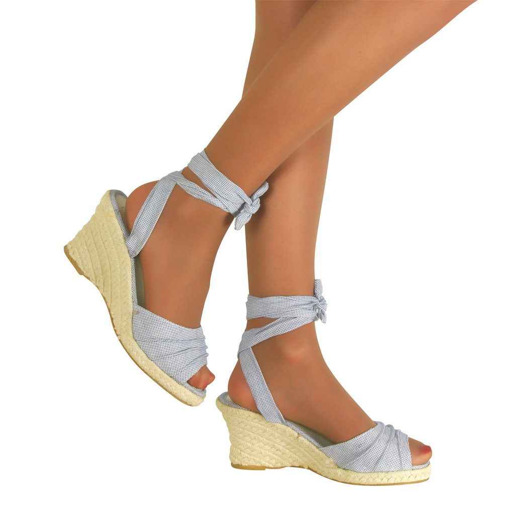Womens Lace Up Wedge Low Heel Shoes