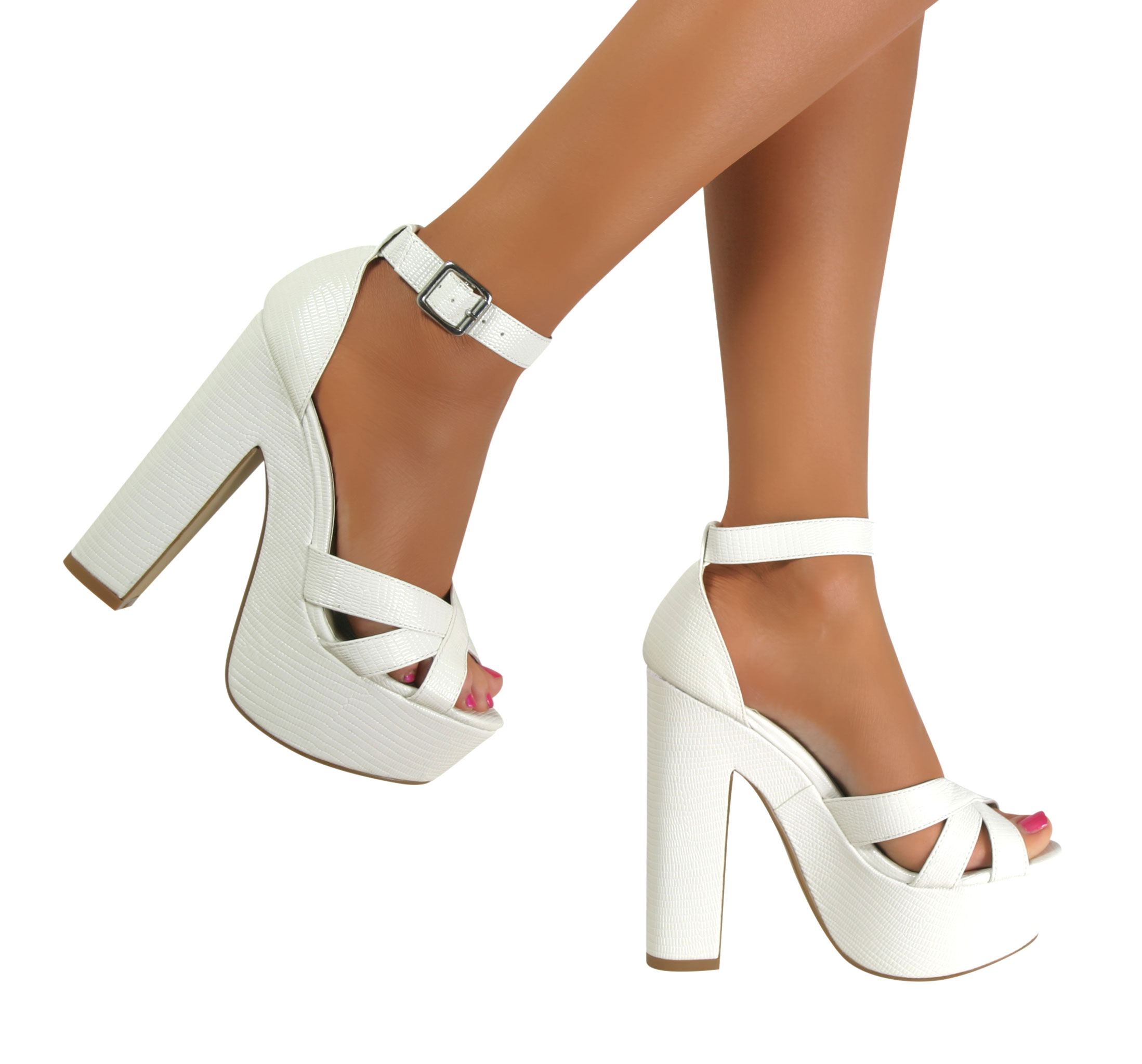 Ladies Block Heel Ankle Strap Sandals Strappy Chunky Peep Toe ...