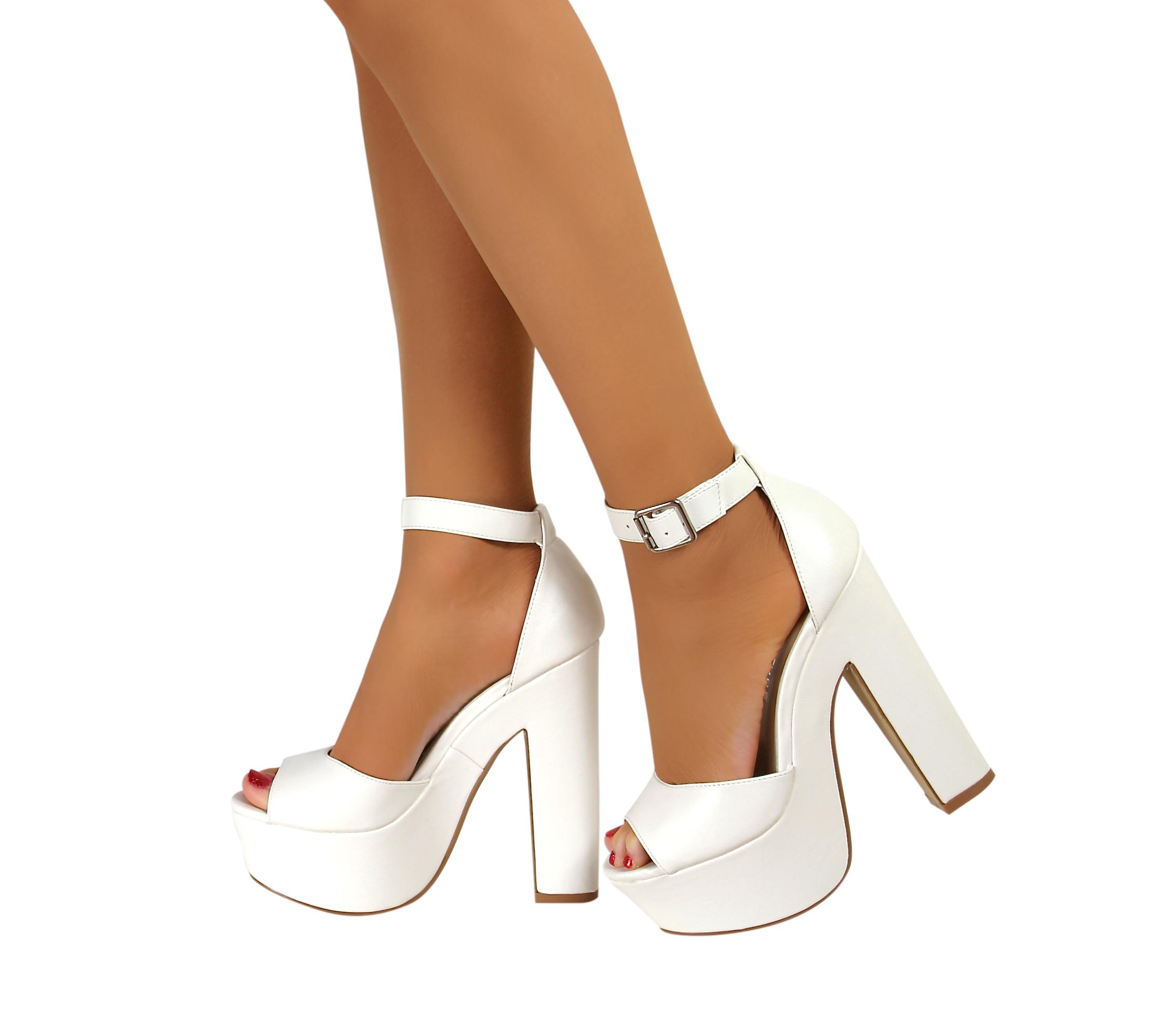 ladies womens ankle strap platform chunky high heel. Black Bedroom Furniture Sets. Home Design Ideas