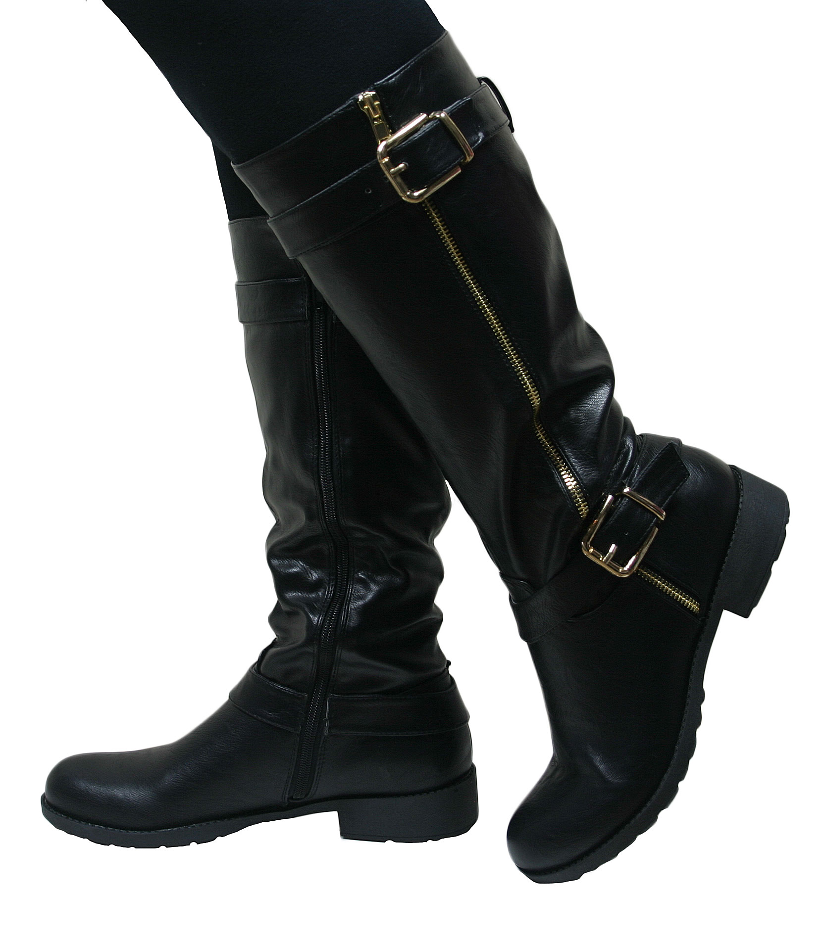 Ladies Women Leather Style Knee High Chunky Block Heel Flat Biker ...