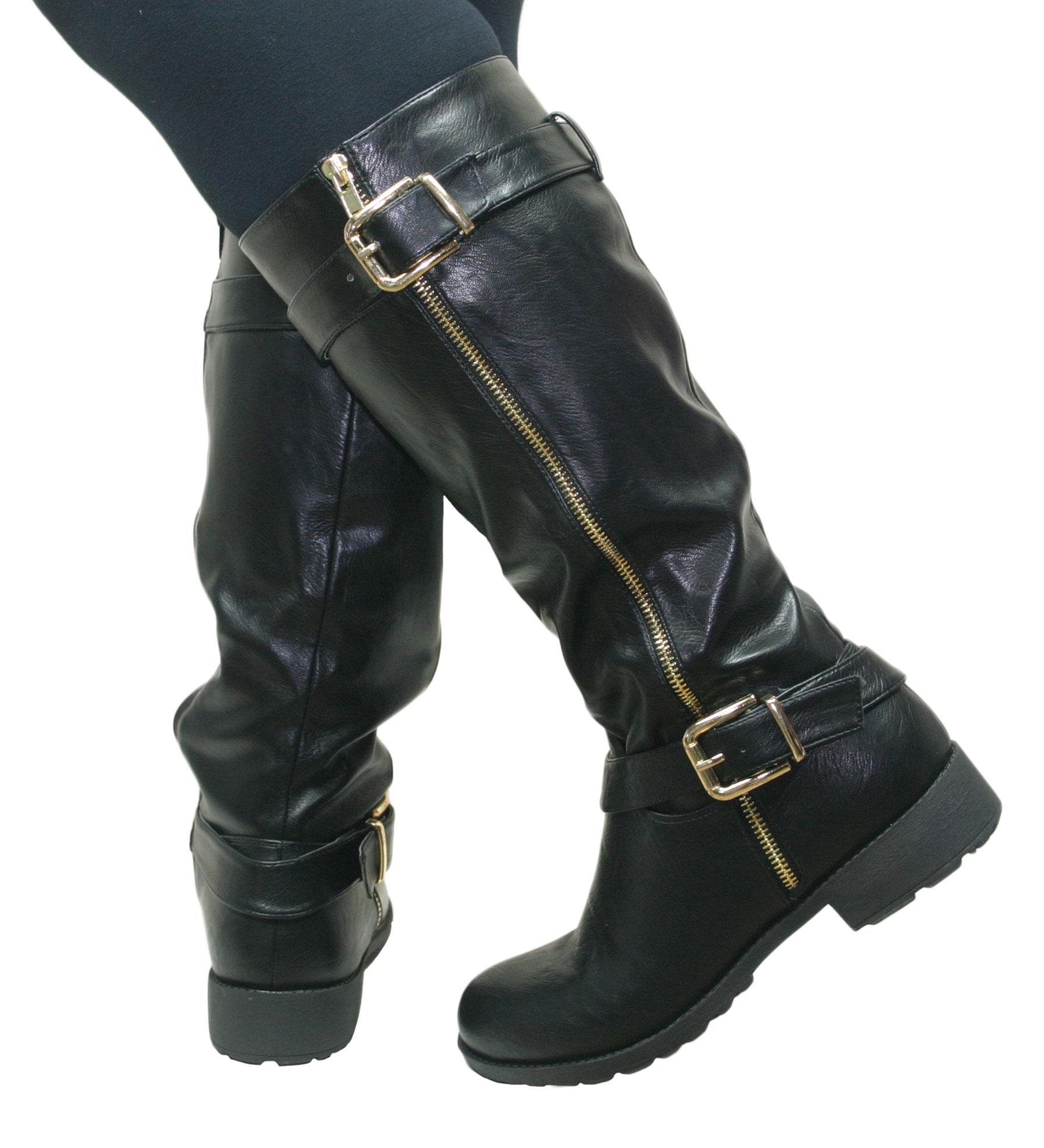 Ladies Women Leather Style Knee High Chunky Block Heel Flat Biker ...
