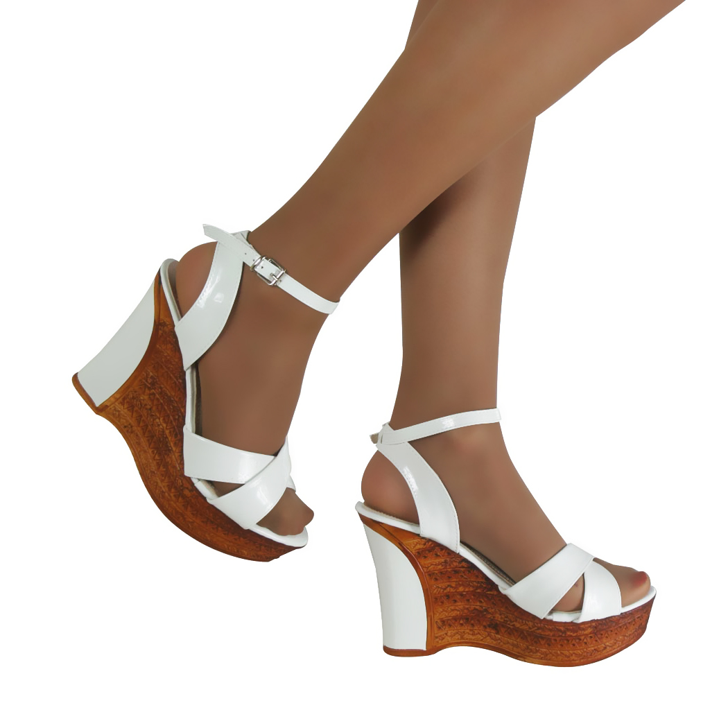 womens white fashion mid high heel wedges ankle