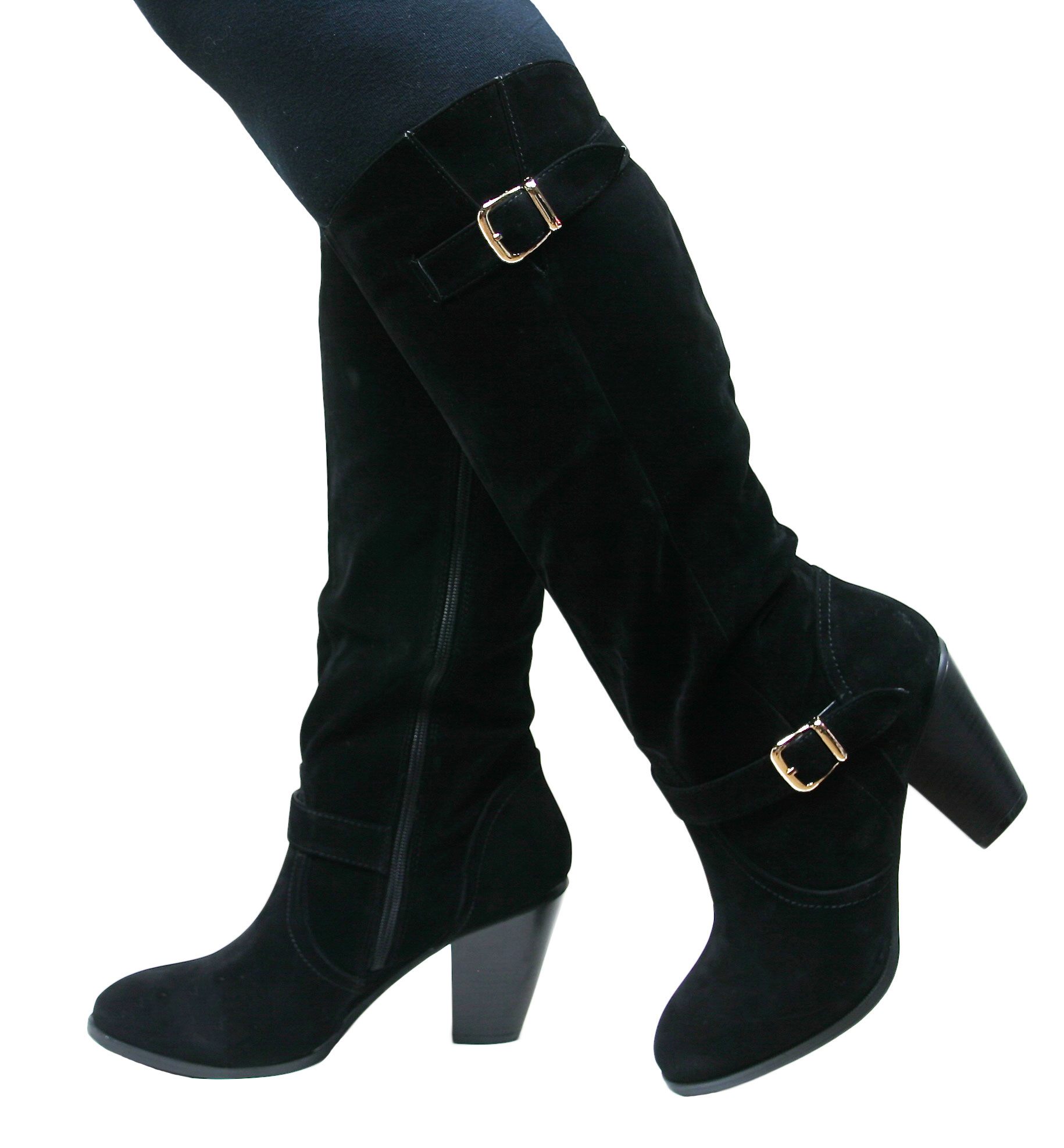 Womens Ladies Knee High Wide-Calf Buckle Detail Zip Up Boots   eBay