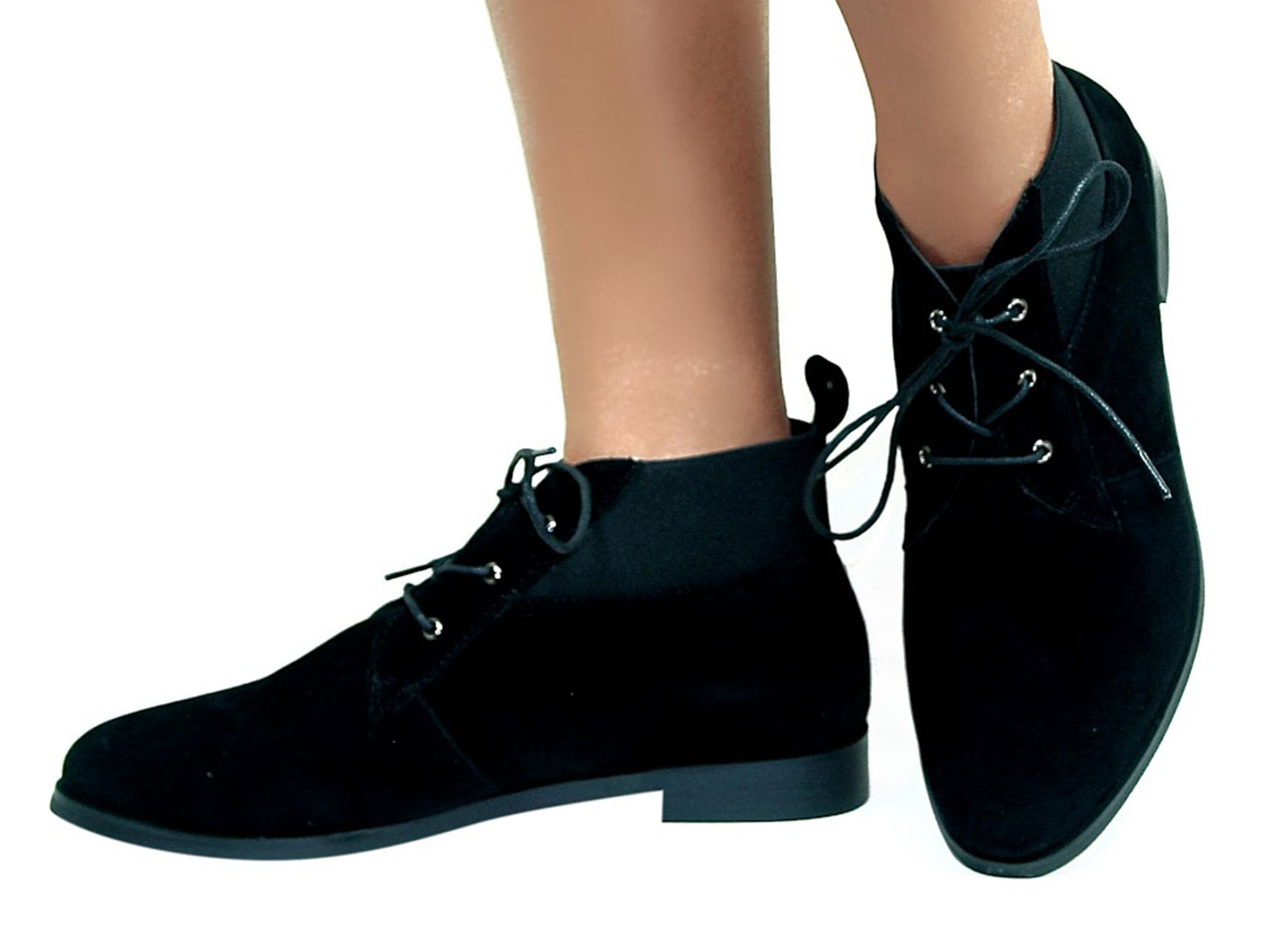 Ladies Womens Vintage Lace Up Ankle Low Heel Pixie Flat Chelsea ...