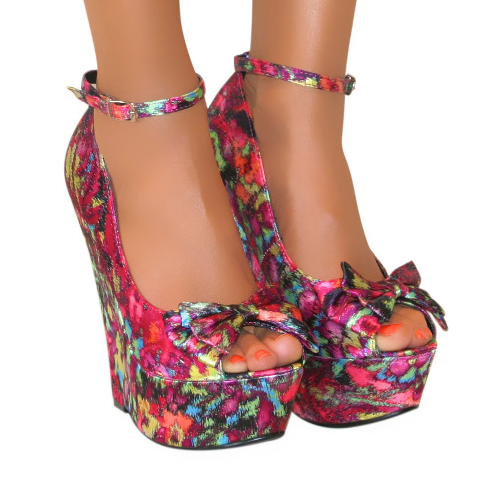 Pink Wedge Heel Shoes