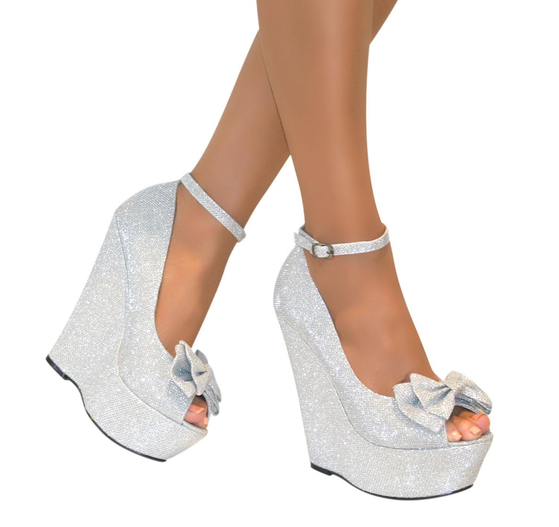 ladies high heel platform womens peep toe bow ankle strap