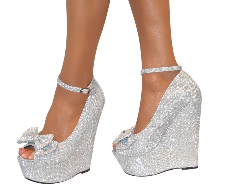 Silver Bow High Heels
