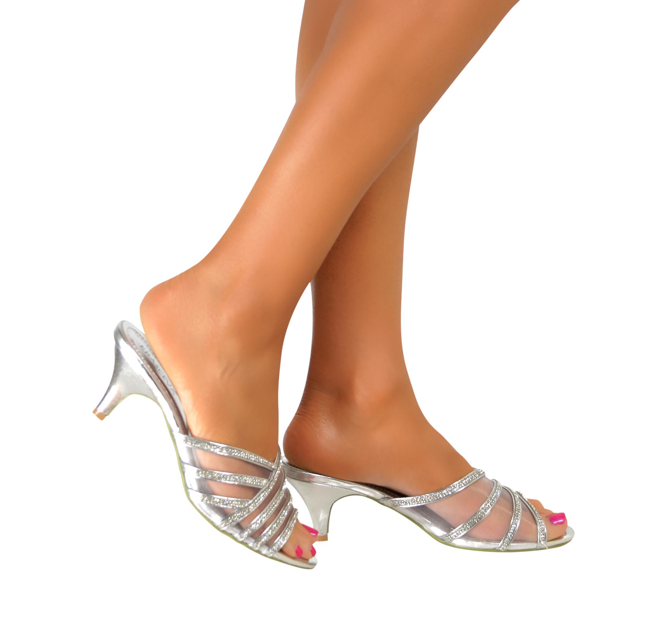 Ladies Womens Bridal Low Mid Heel Diamante Sandals Slip On Summer Mules Shoes