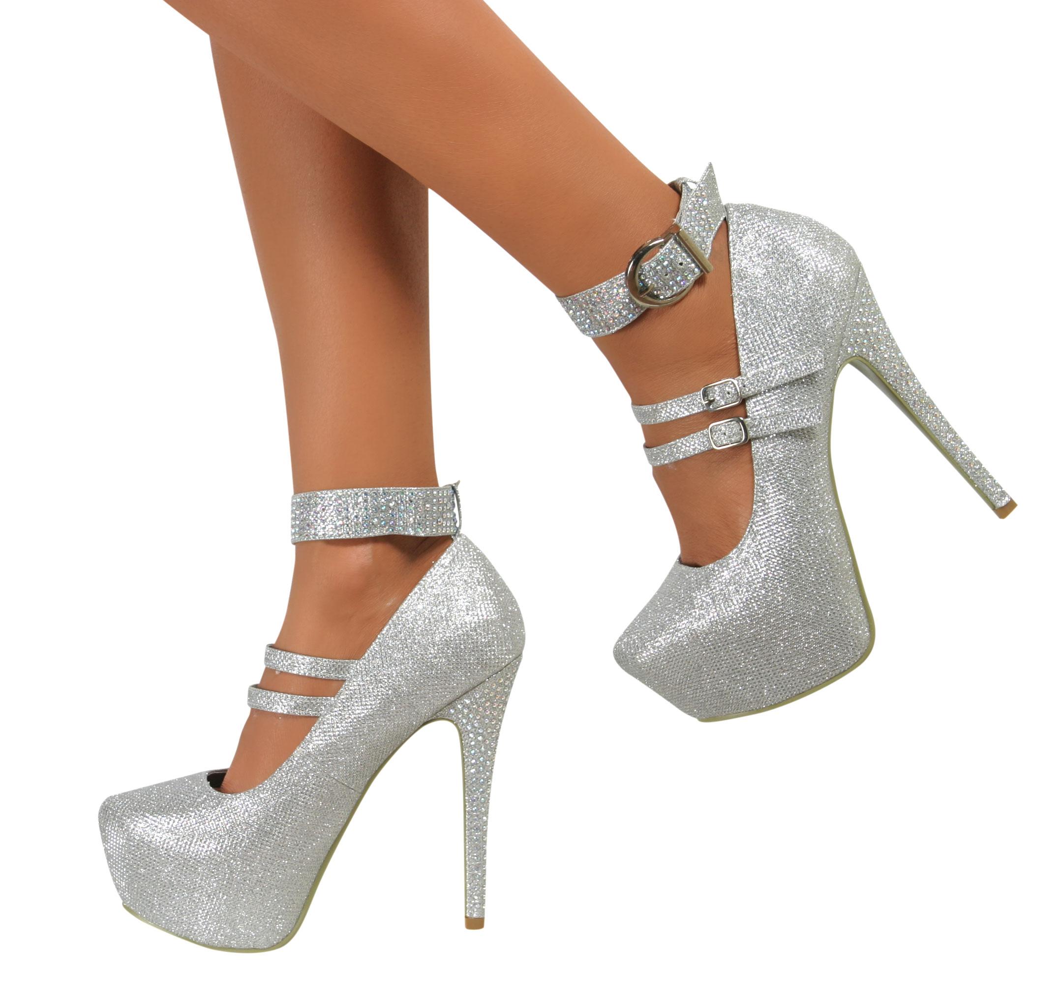 Silver Glitter Pumps 2 Inch Heel