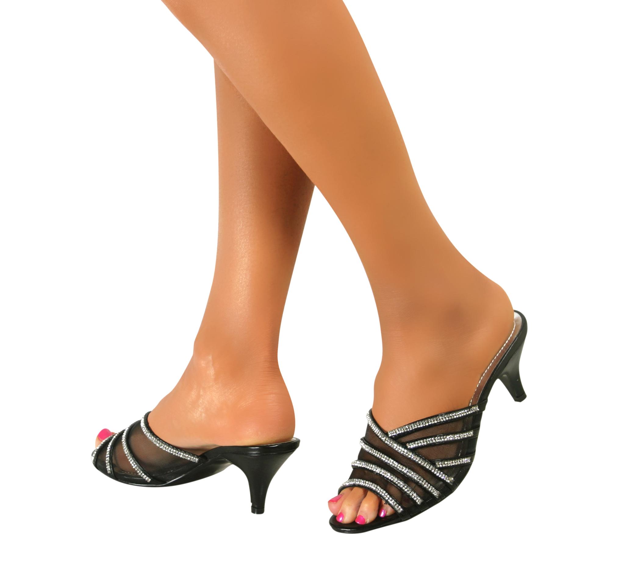 Ladies Womens Bridal Low Mid Heel Diamante Sandals Slip On ...