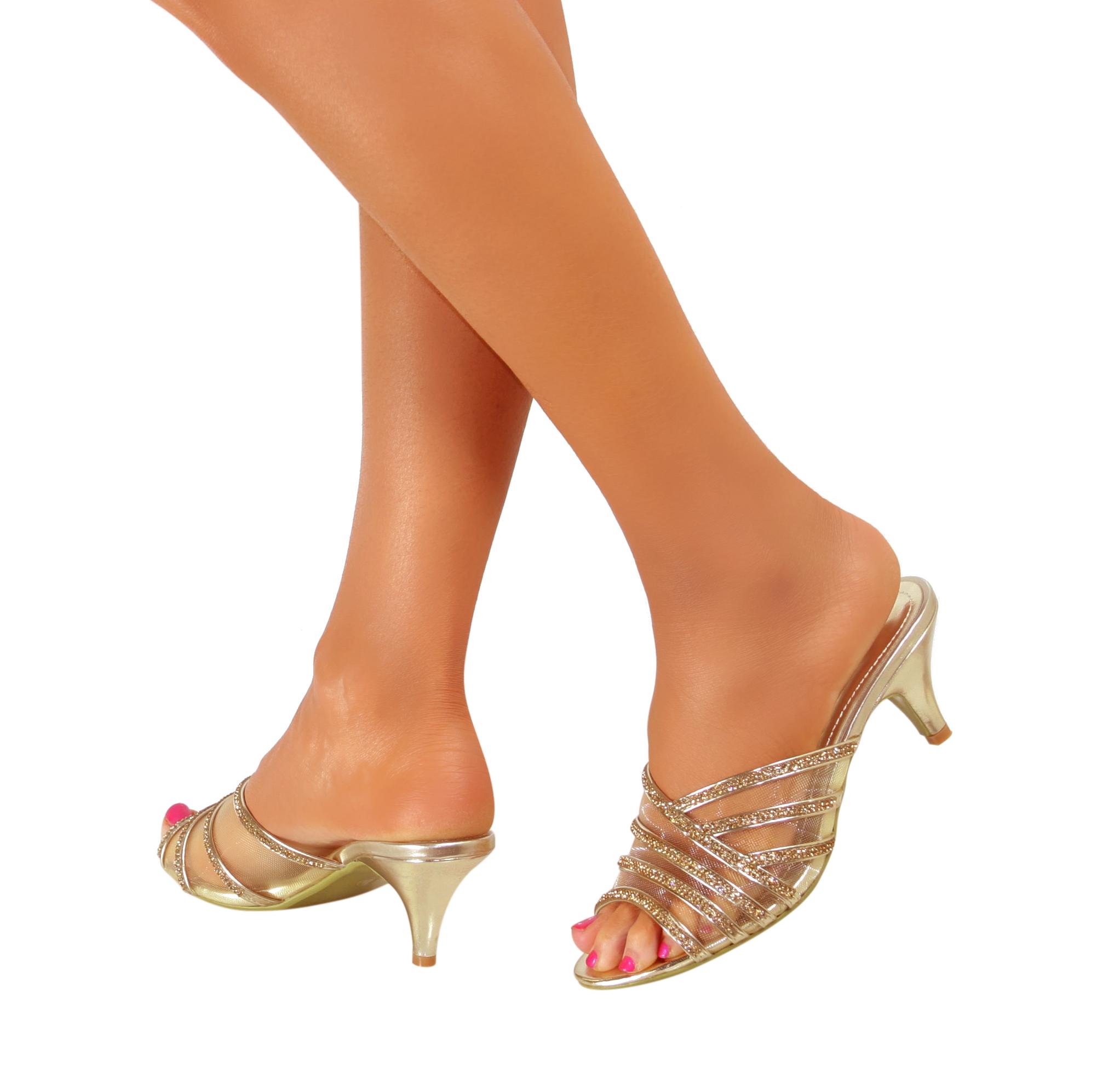 Ladies Womens Bridal Low Mid Heel Diamante Sandals Slip On Summer ...