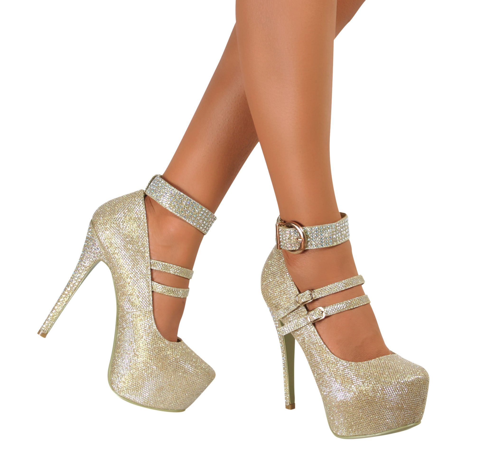 Womens Platform High Heels Glitter Diamante Ankle Strap Buckle ...
