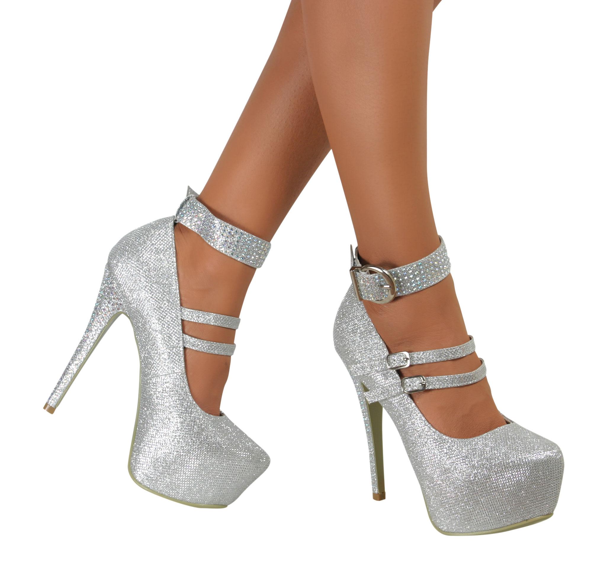 Silver Glitter Heels 4 Inch