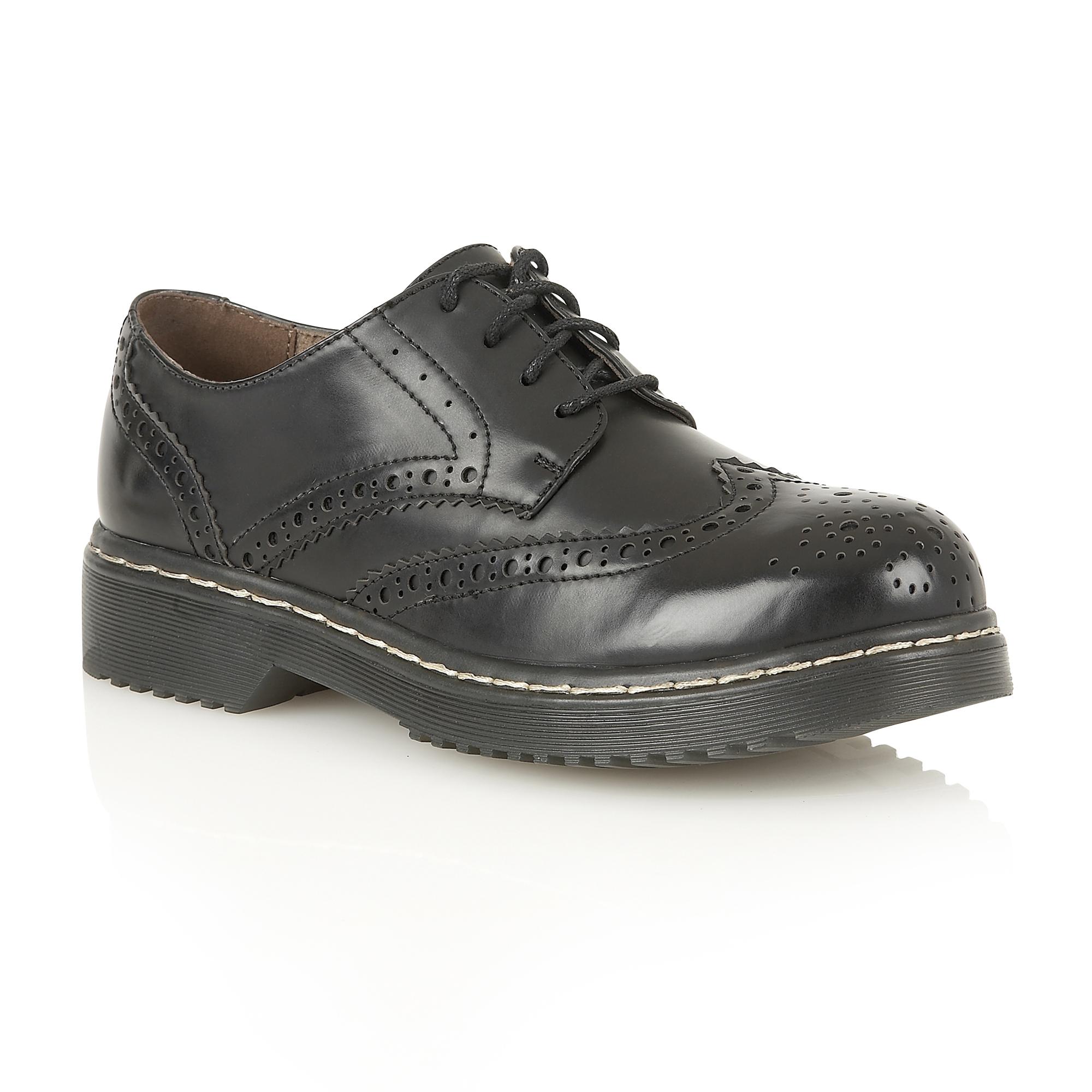 womens chunky heel lace up brogue oxford school