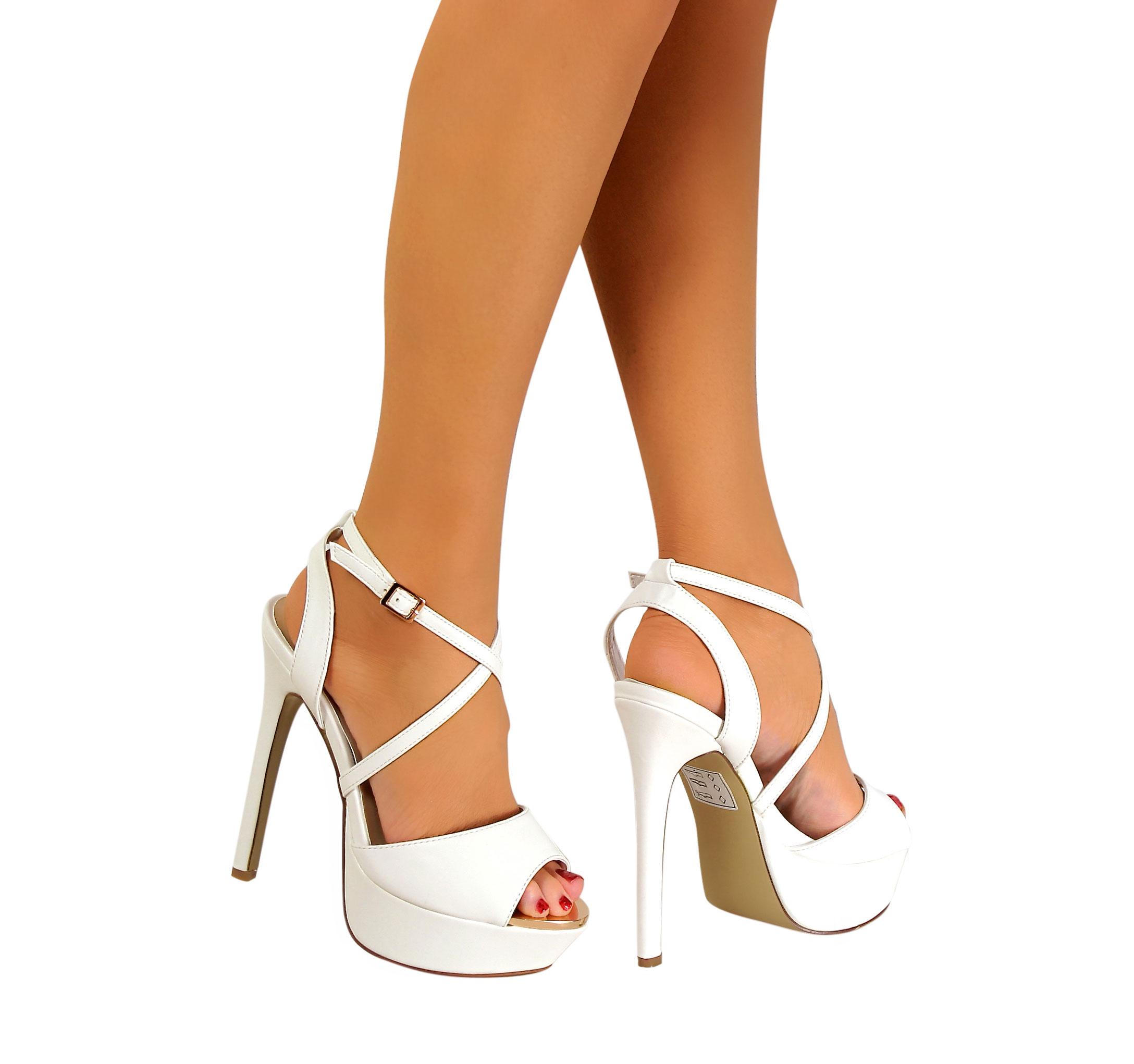 Womens Peep Toe Strappy Platform Stiletto Ladies High Heel Sandal ...