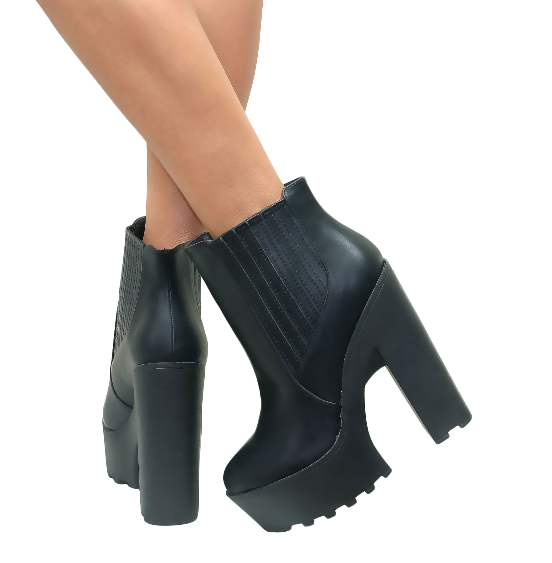 WOMENS LADIES CLEATED CHUNKY PLATFORM SOLE BLOCK HEEL ANKLE BOOTS ...