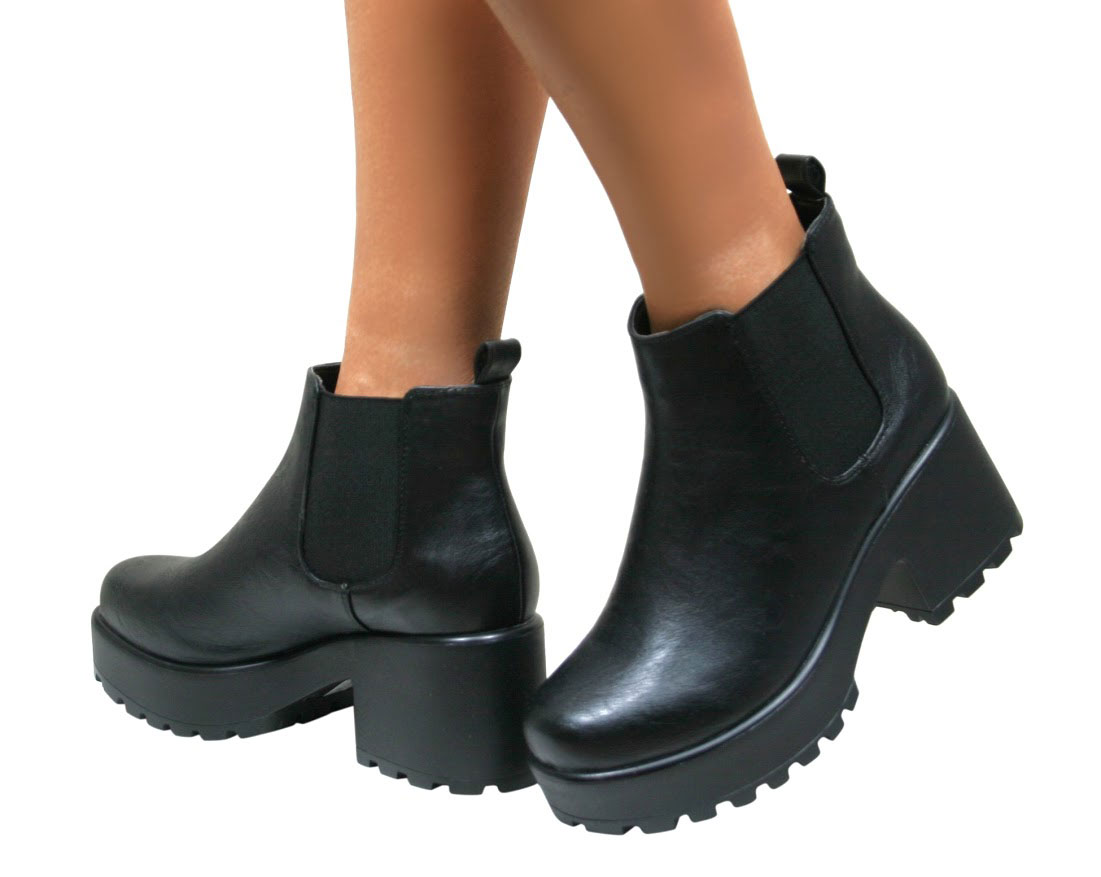 WOMENS LADIES CHELSEA ANKLE BOOTS CHUNKY CLEATED PLATFORM SOLE ...