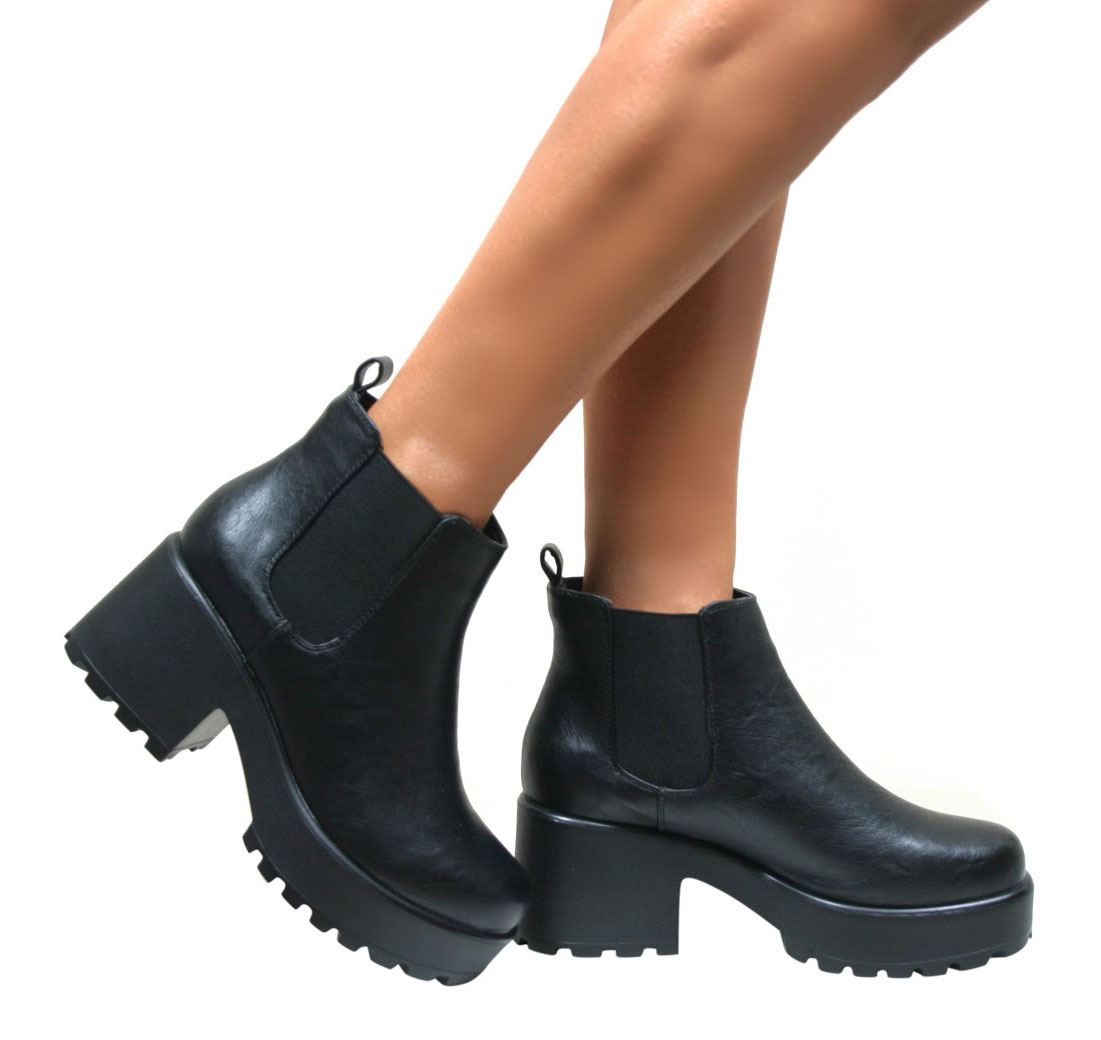 womens ladies chelsea ankle boots chunky cleated platform. Black Bedroom Furniture Sets. Home Design Ideas