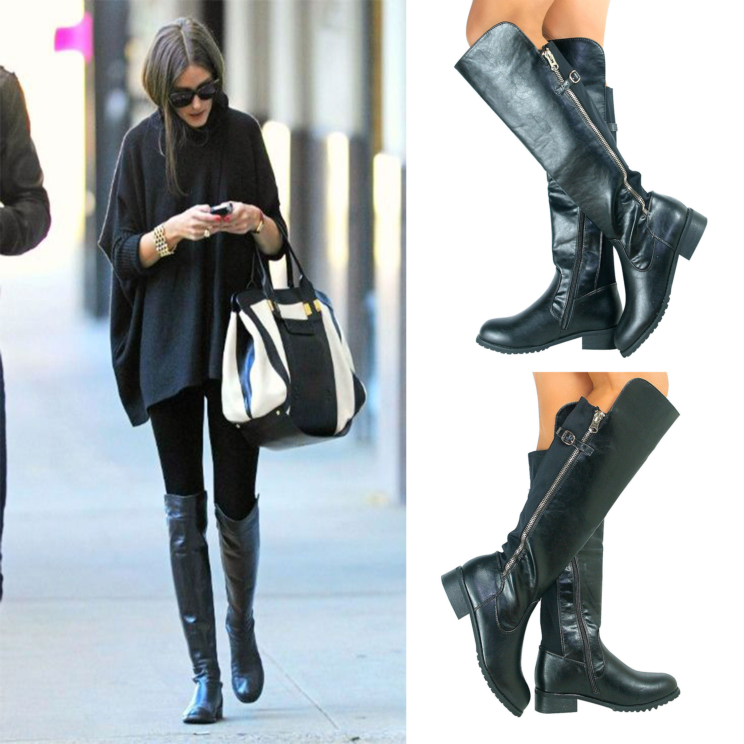 New Womens Black Knee High Ladies Sexy Mid Heel Zip Buckle Riding ...