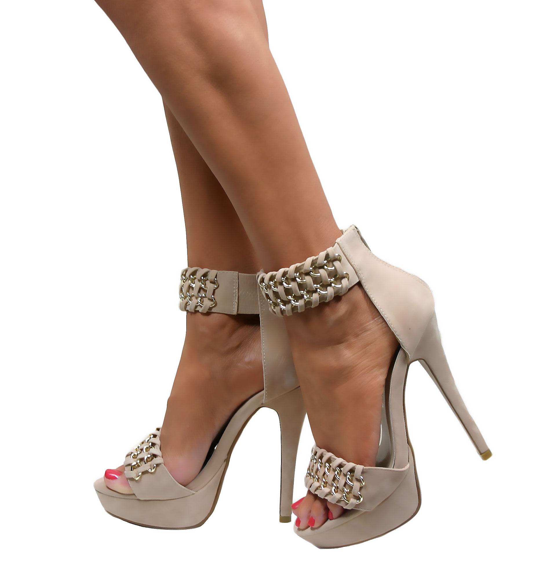 Da-Donna-Cinturino-alla-Caviglia-Bracciale-TACCO-ALTO-STILETTO-Peep-Toe-Sandali-Con-Cinturini-Scarpe