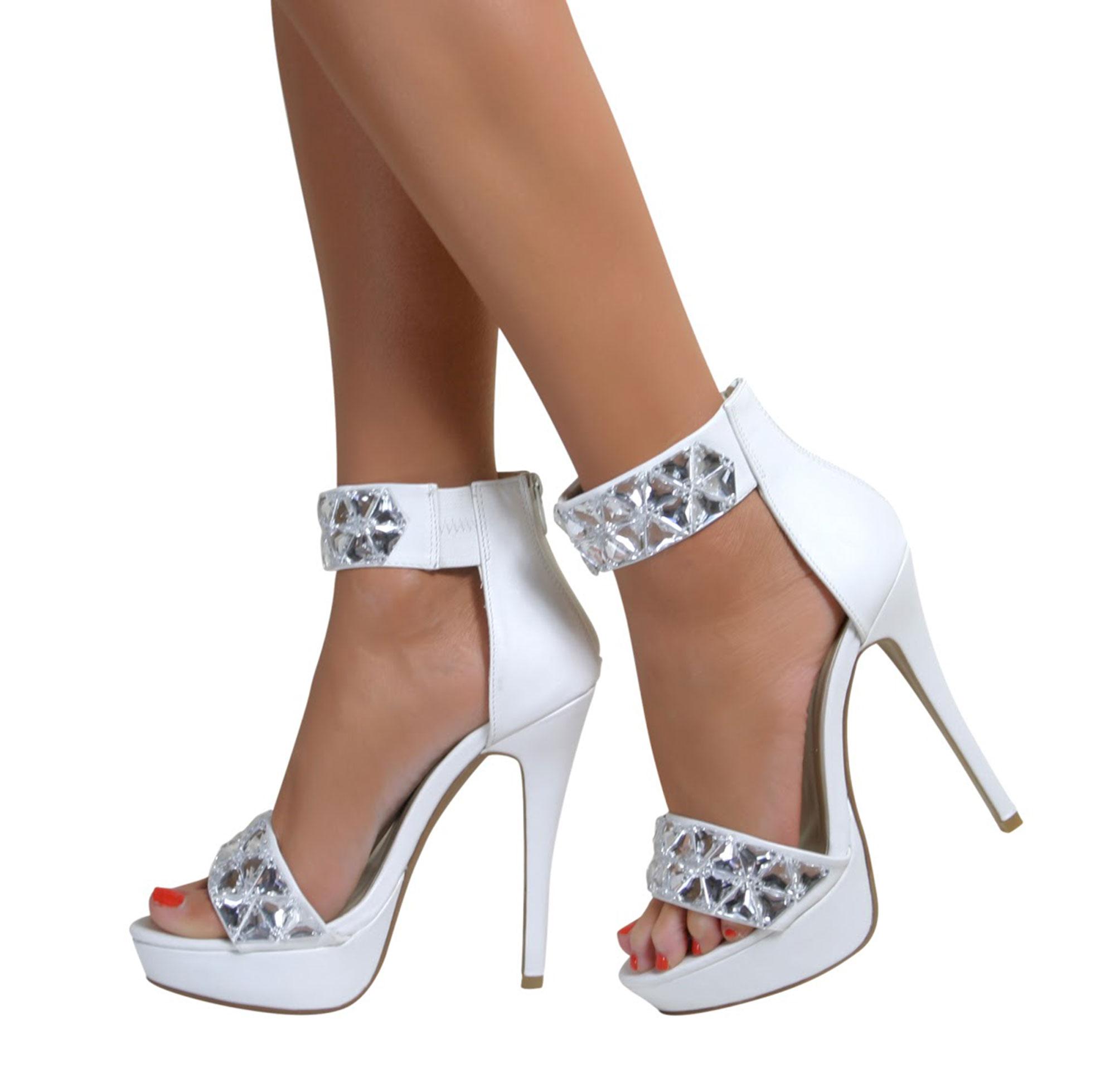 Ladies Stiletto Ankle Cuff Strap High Heel Strappy Zip Sandals ...