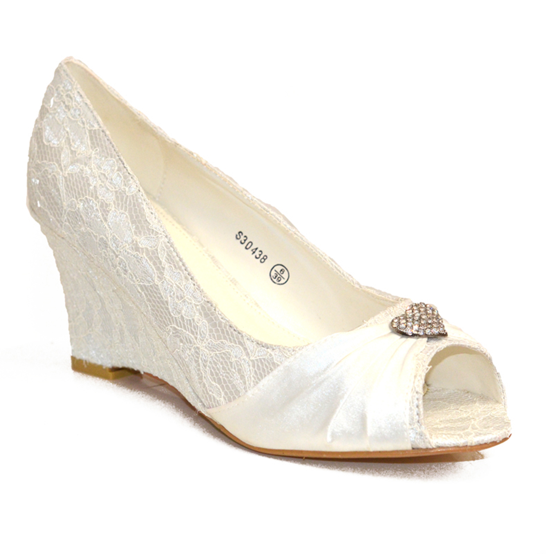 new ivory low heel wedge wedding bridal court shoe