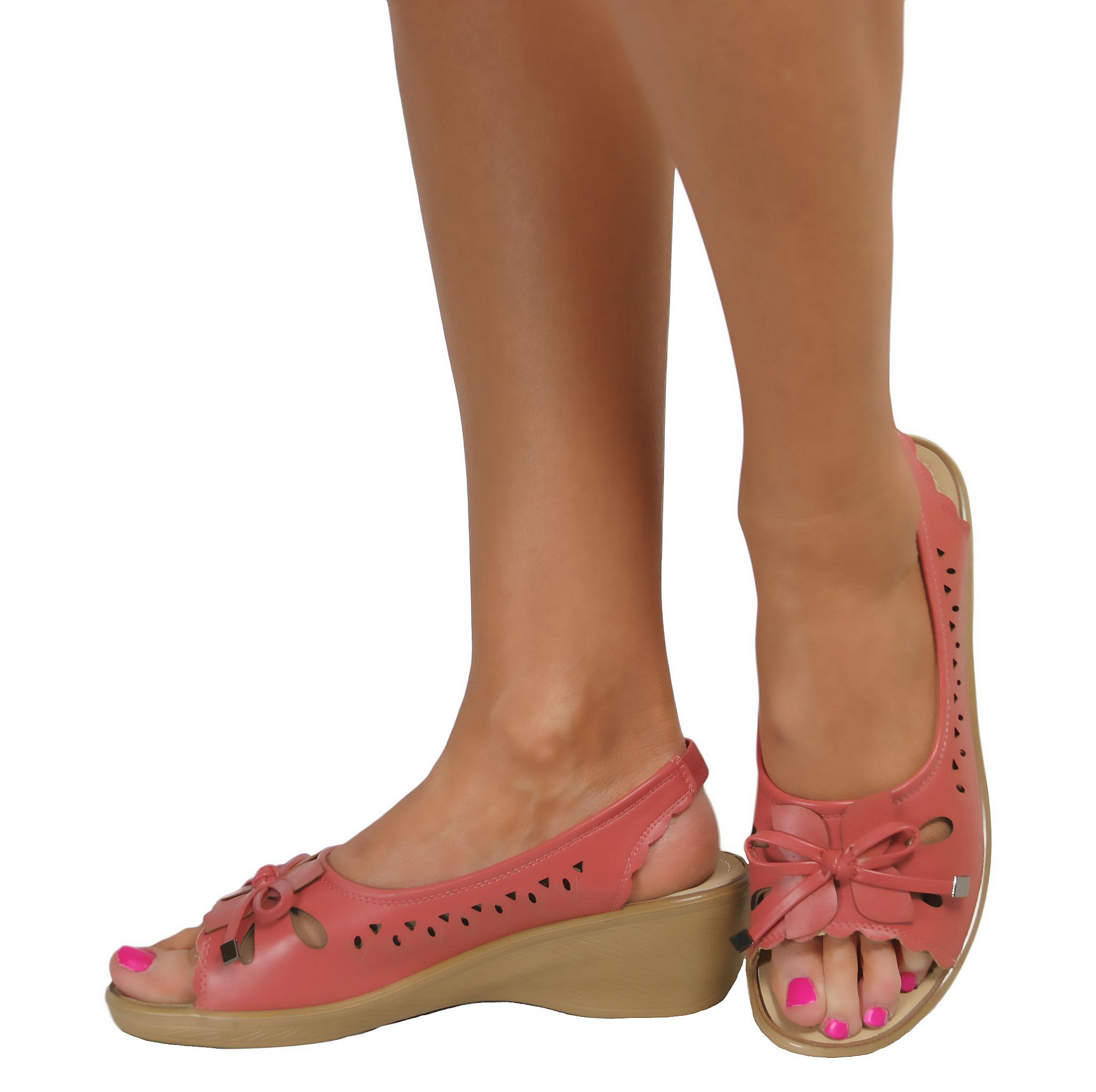 Ladies Low Wedge Heel Peep Toe Wide Fit Comfy Casual ...