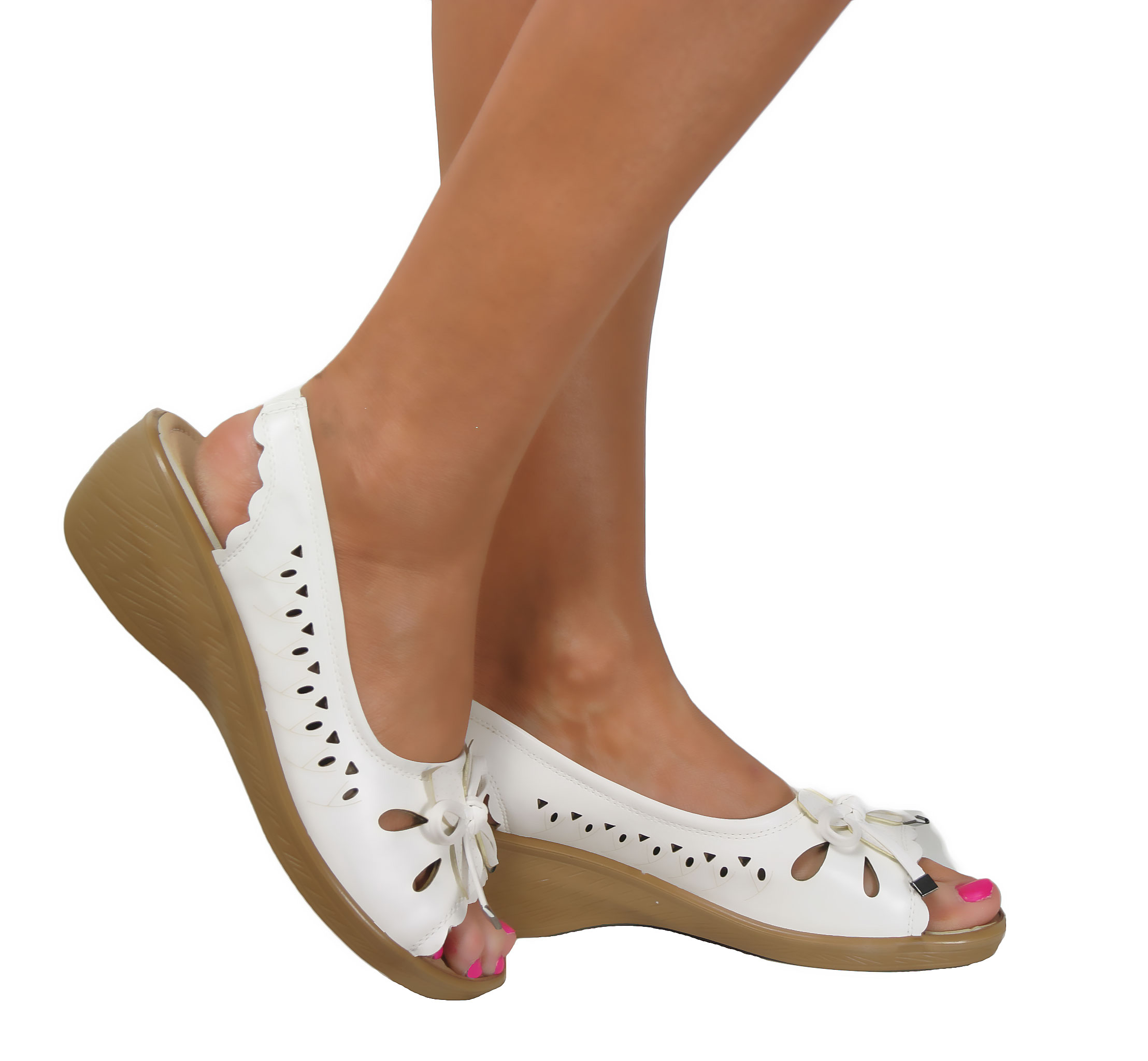 Ladies Low Wedge Heel Peep Toe Wide Fit Comfy Casual Slingback ...