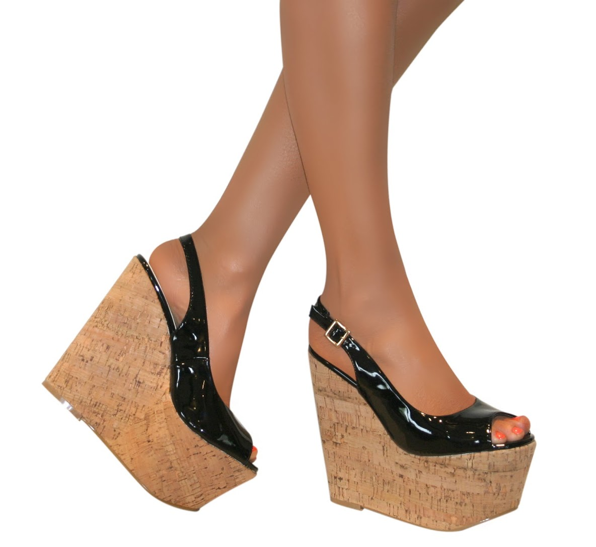 Ladies High Wedge Heel Cork Platform Womens Patent Peep Toe Shoes
