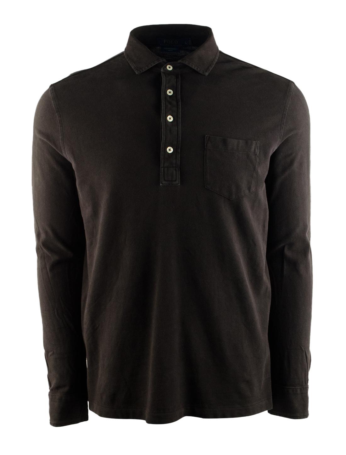 Mens Long Sleeve Polo Shirt With Pocket
