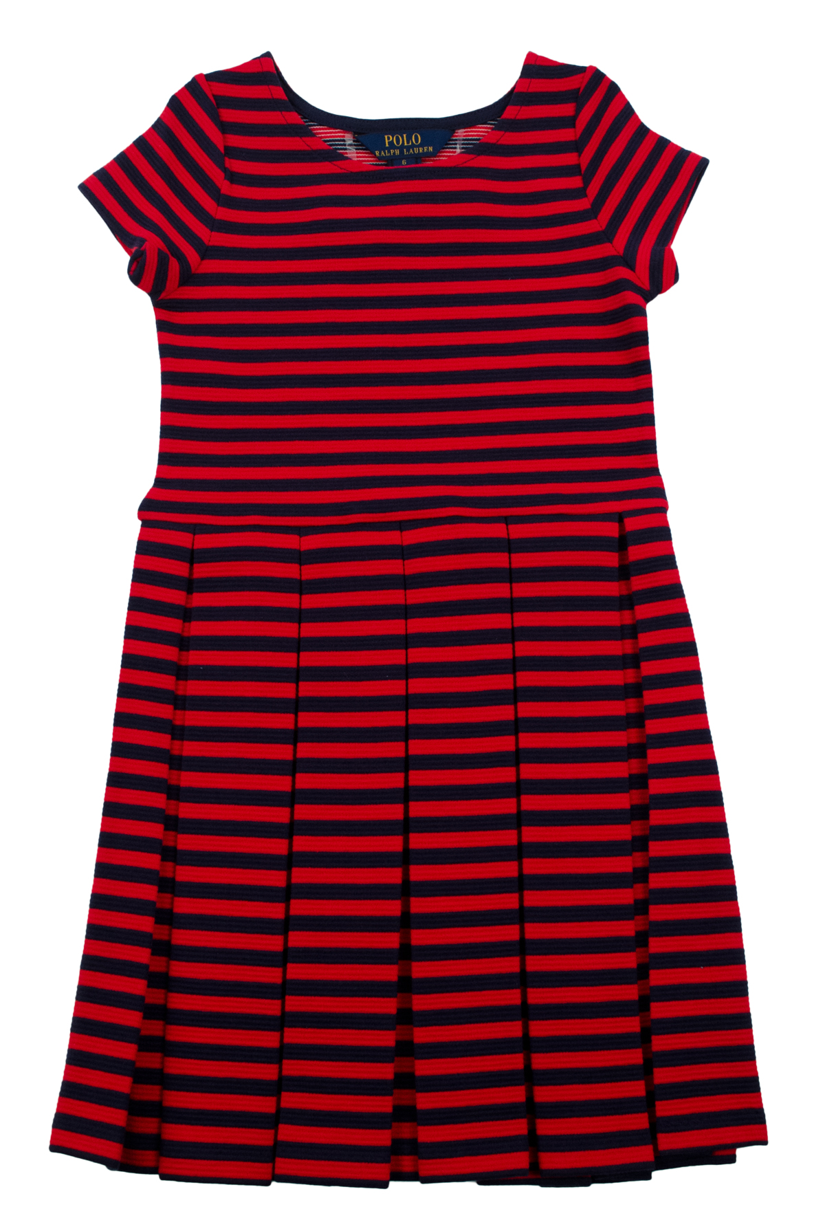 Polo ralph lauren little girls 39 short sleeve pleated for Polo ralph lauren striped knit dress shirt