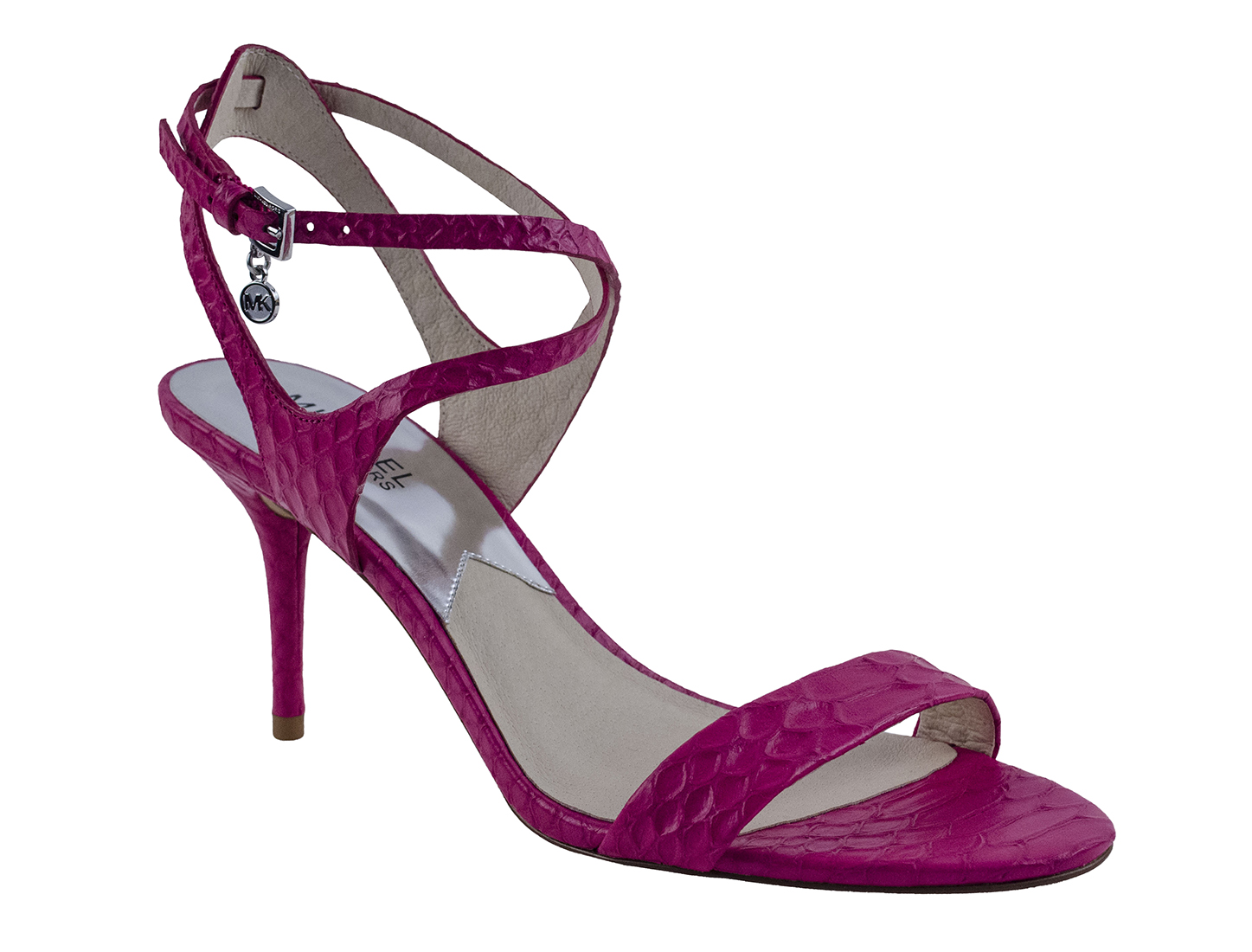 Michael Kors Kaylee Mid Heel Dress Sandal Fuschia Pink Embossed