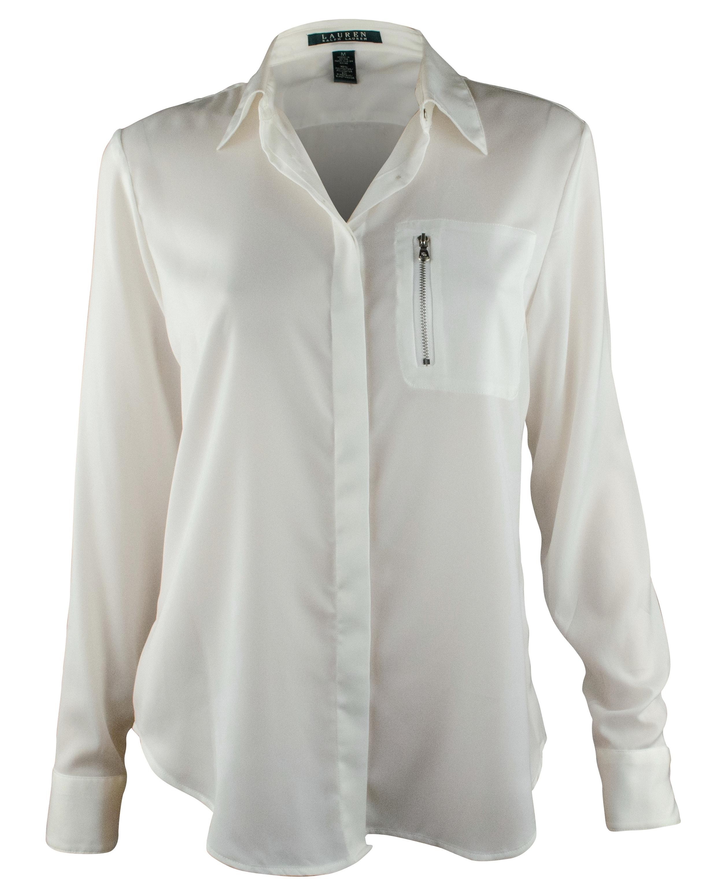 Ralph Lauren Women 39 S Zip Pocket Satin Blouse Shirt Tops Ebay