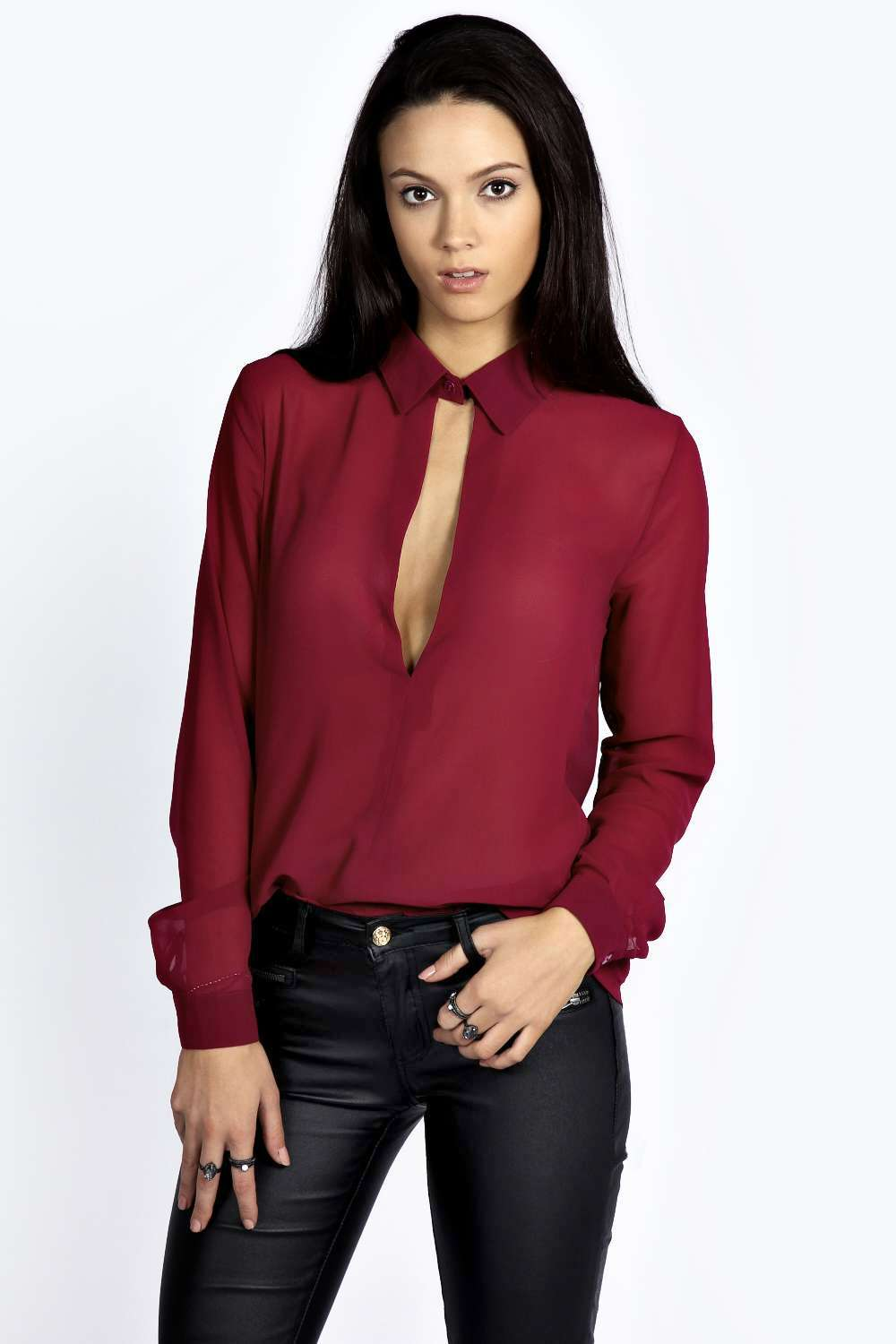 Boohoo womens rosella collared open front long sleeve blouse for Long sleeve open shirt